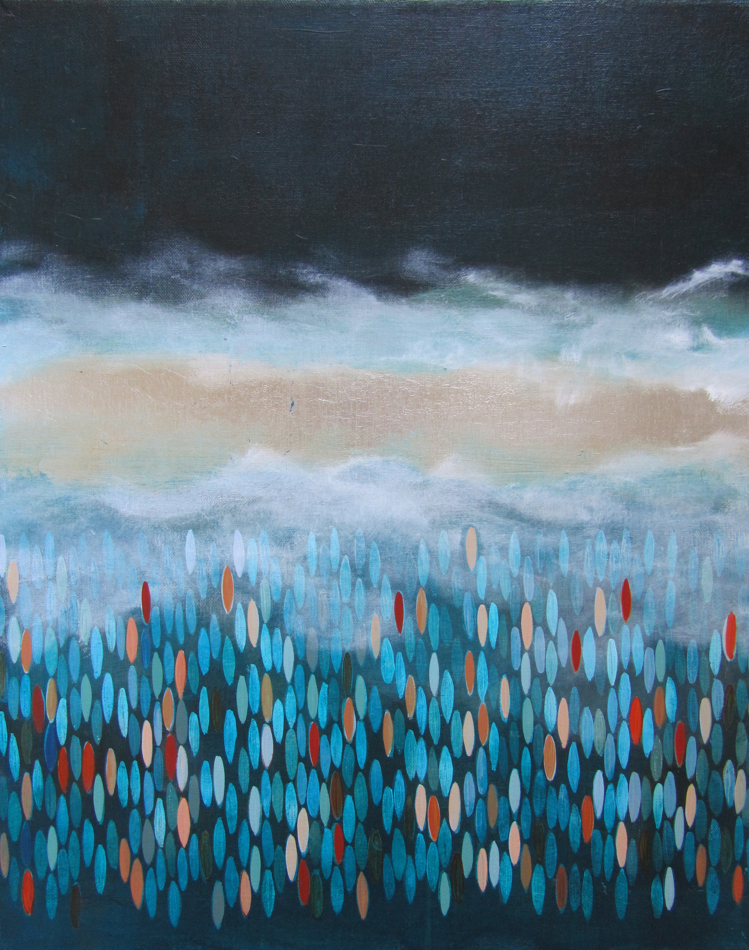 "Aground, 2012,  acrylic + alum-silver on canvas, 20""x""16"