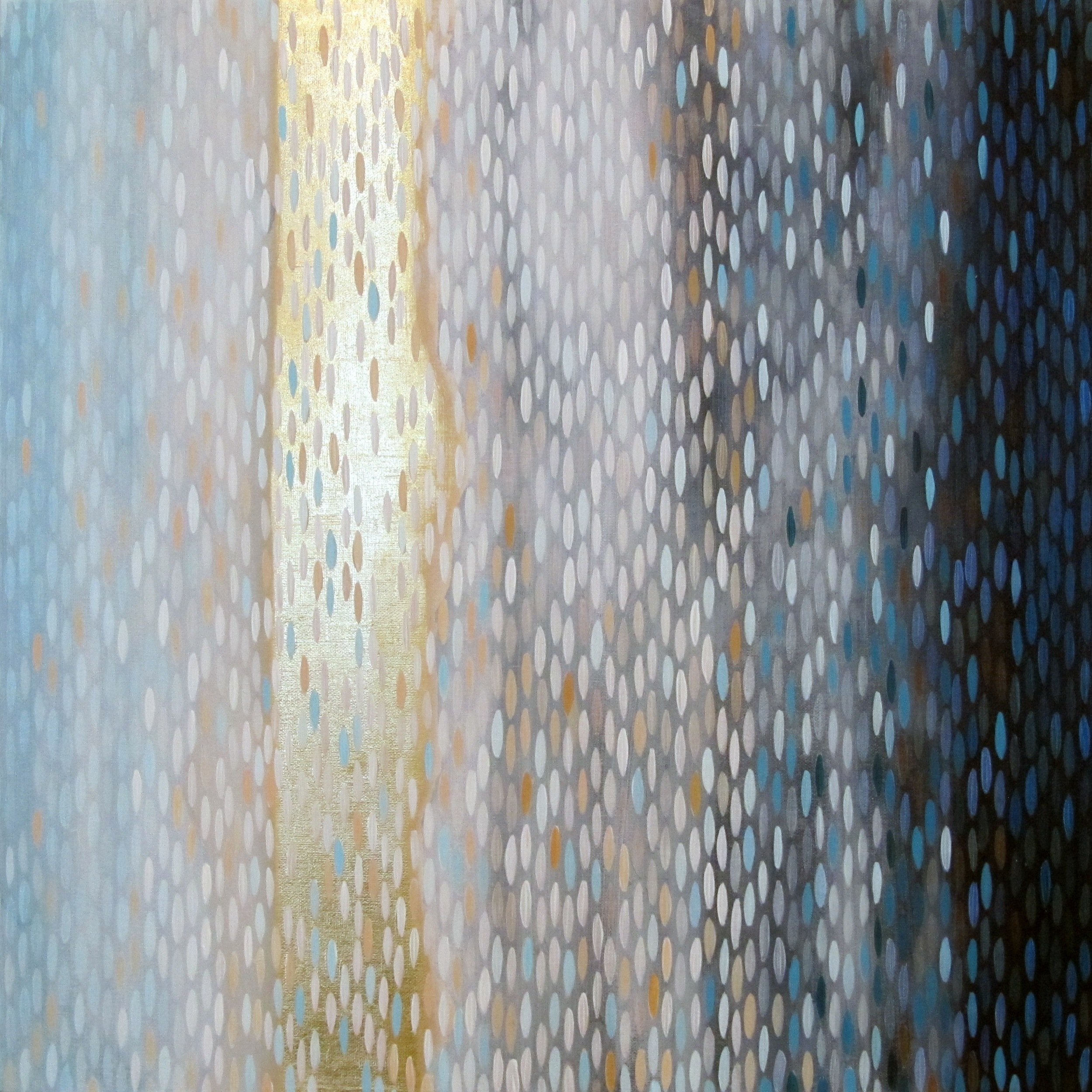 "Riverine, 2012, acrylic + gold on canvas , 20""x20"" (≈51x51cm)"