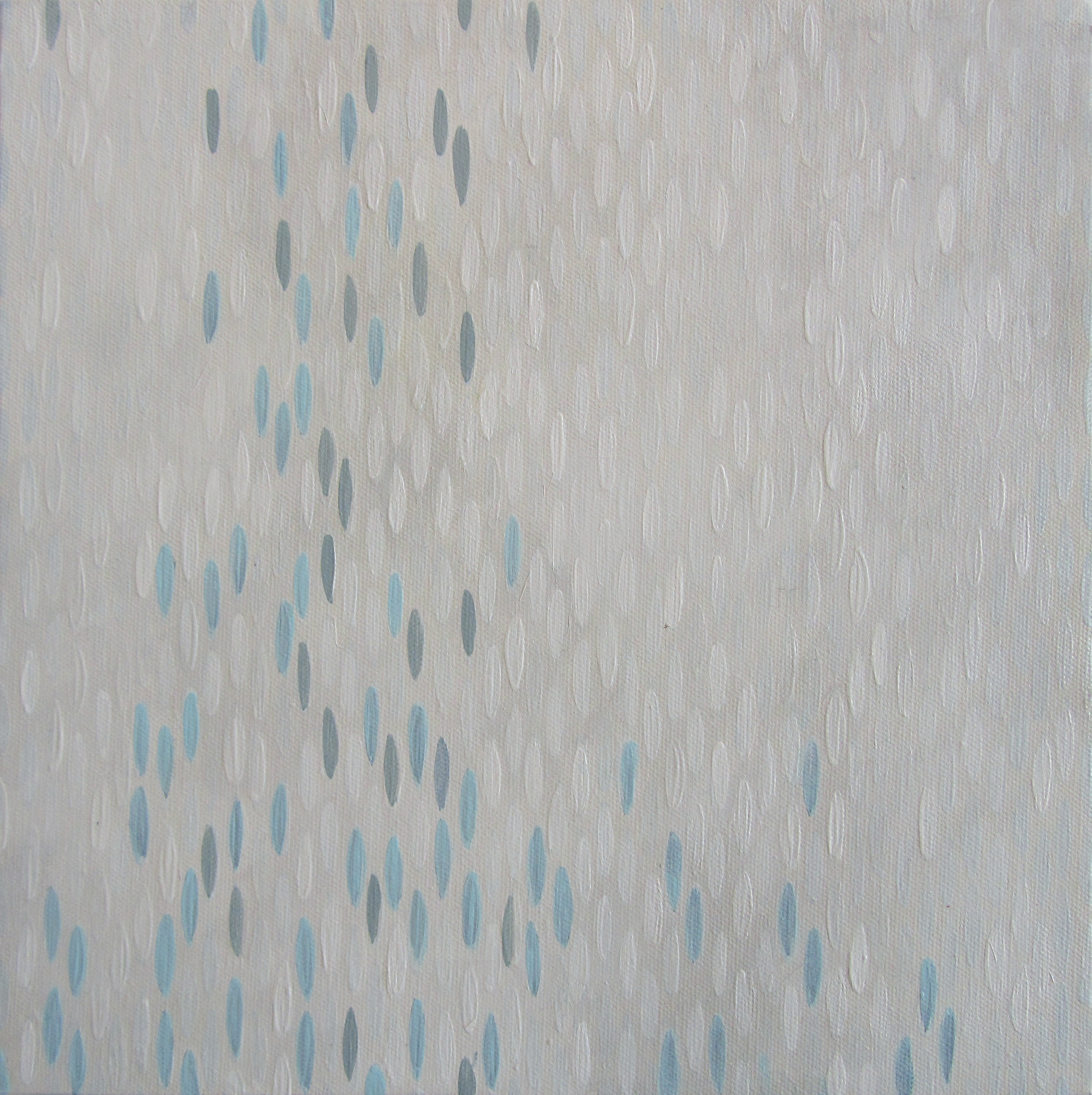 "Weiss Lust (Blues), 2012, acrylic + alum-silver on canvas, 10""x10"" (≈25x25cm)"