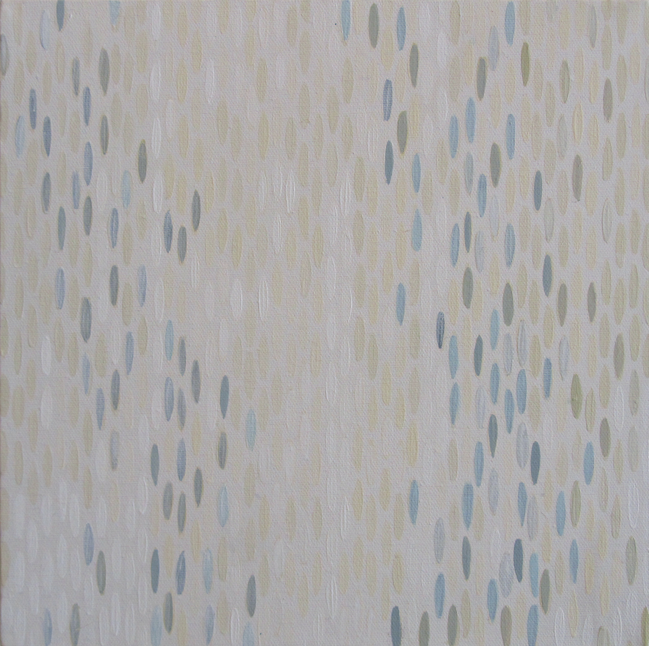 "Weiss Lust (Greys), 2012, acrylic + alum-silver on canvas, 10""x10"" (≈25x25cm)"
