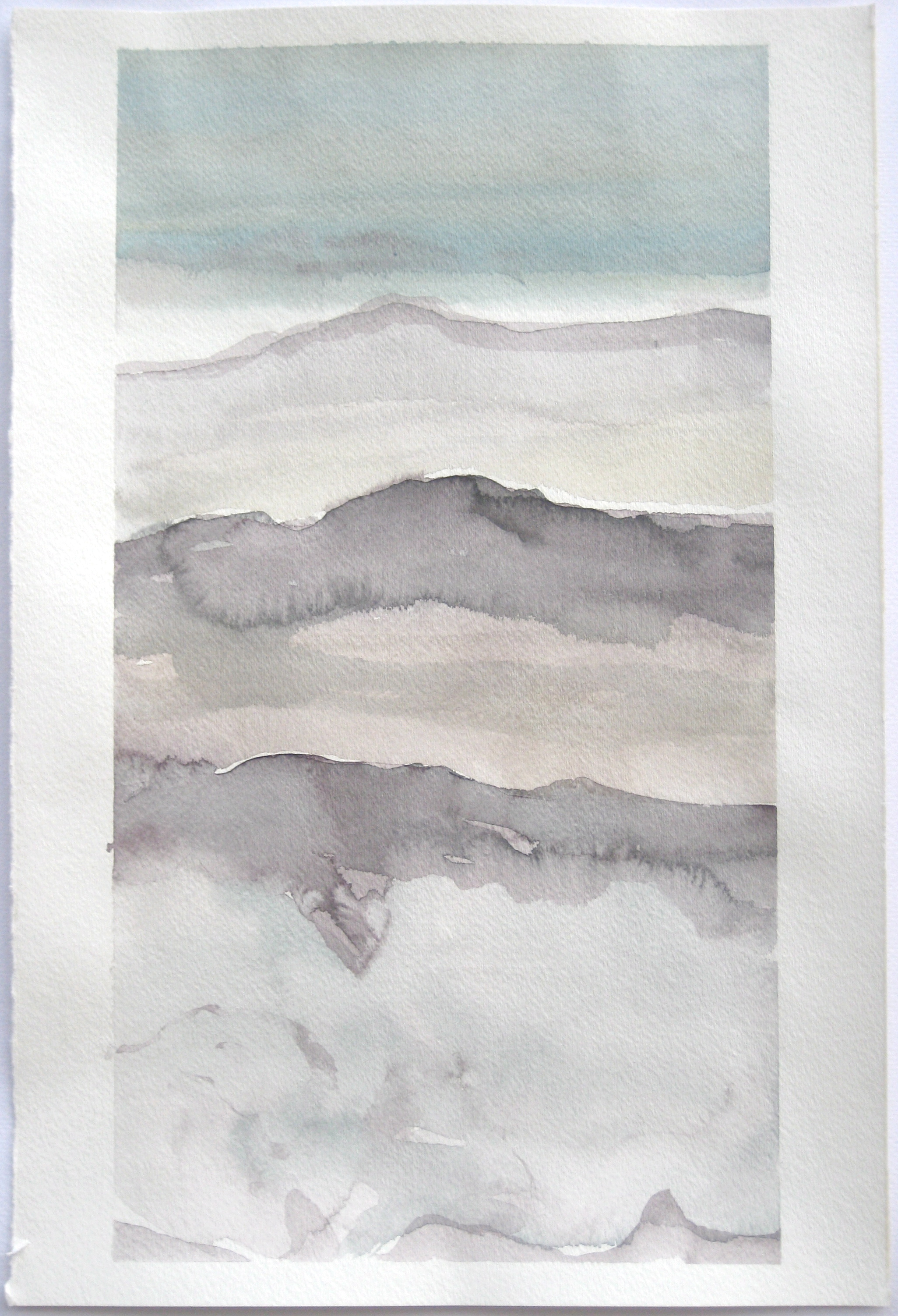 """Sky #8.4/2007. 2007, watercolor on paper paper: 18""""x12""""; image: 17""""x9 1/4"""""""