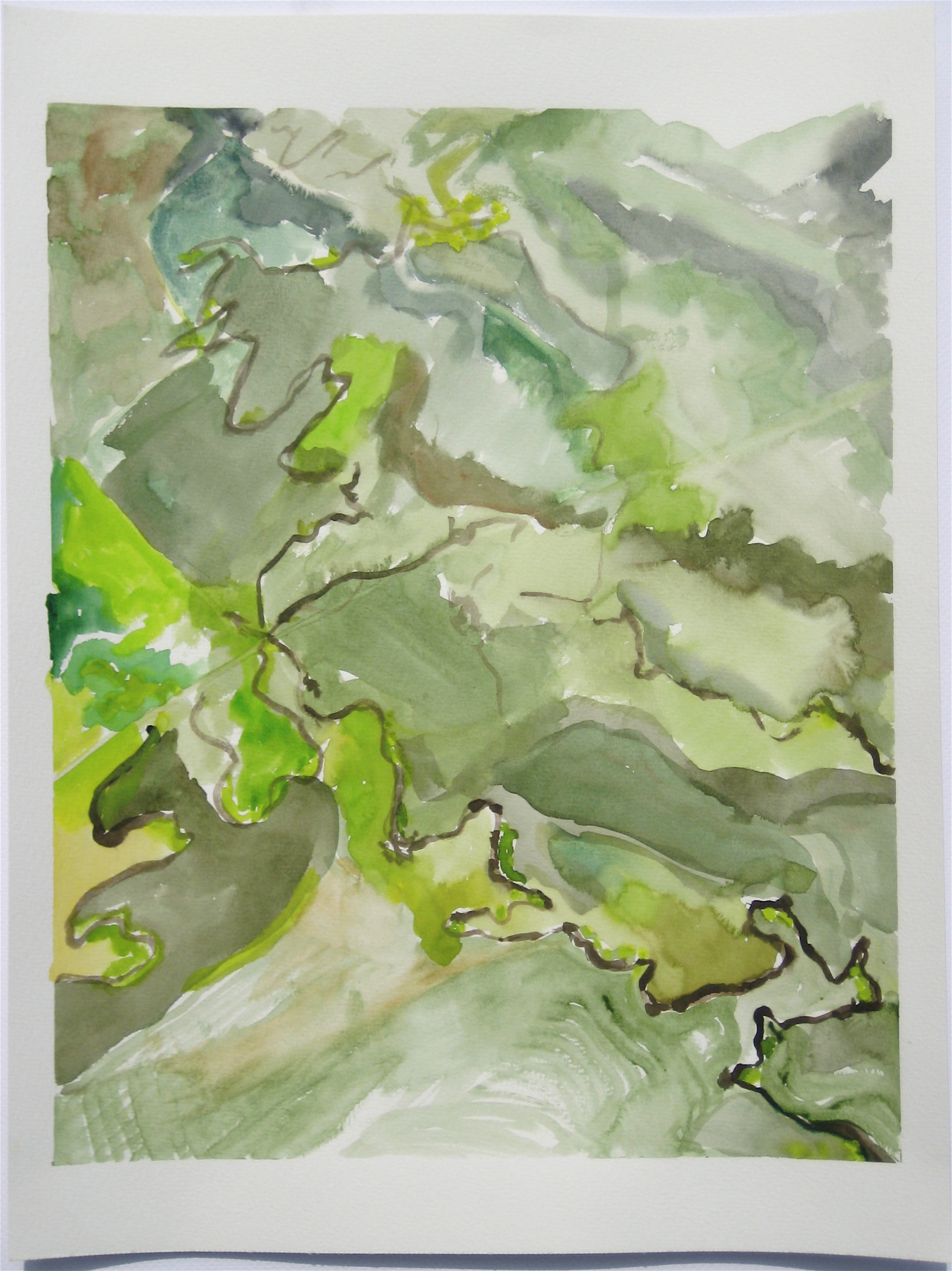 """Sky #4.5/2007, 2007, watercolor on paper paper: 20""""x15""""; image: 17 1/2""""x13 6/8"""""""