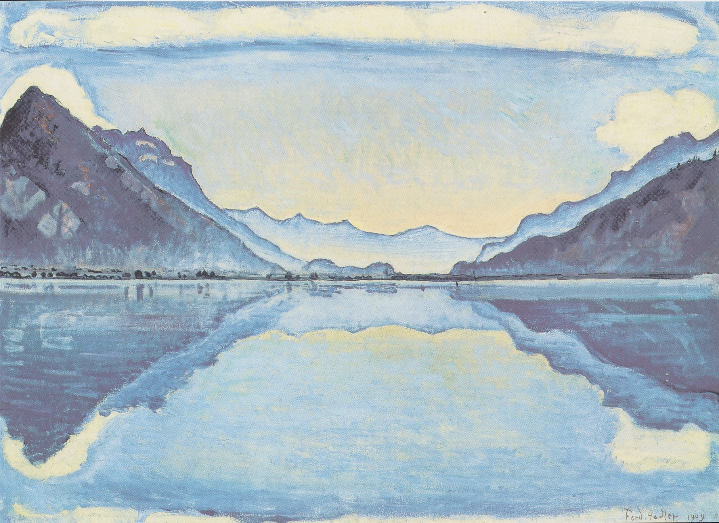 """Ferdinand Hödler, """"Thunnersee with Reflective Mirroring"""", 1909, Oil on Canvas, 26.5"""" x 36"""""""