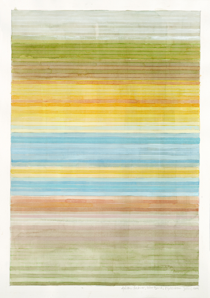 "Color Bands (Yellowstone Yellow), 2014, Watercolor and gouache on paper, 20""x14 1/4"""