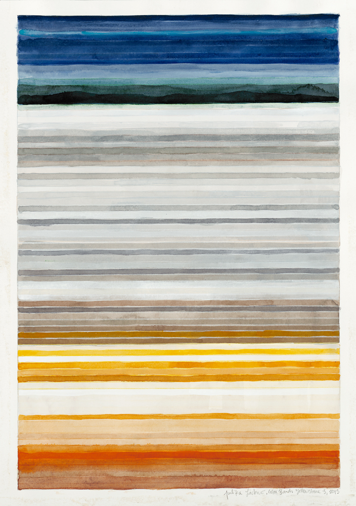 "Color Bands (Yellowstone #3), 2013, Watercolor and gouache on paper, 20""x14 1/4"""