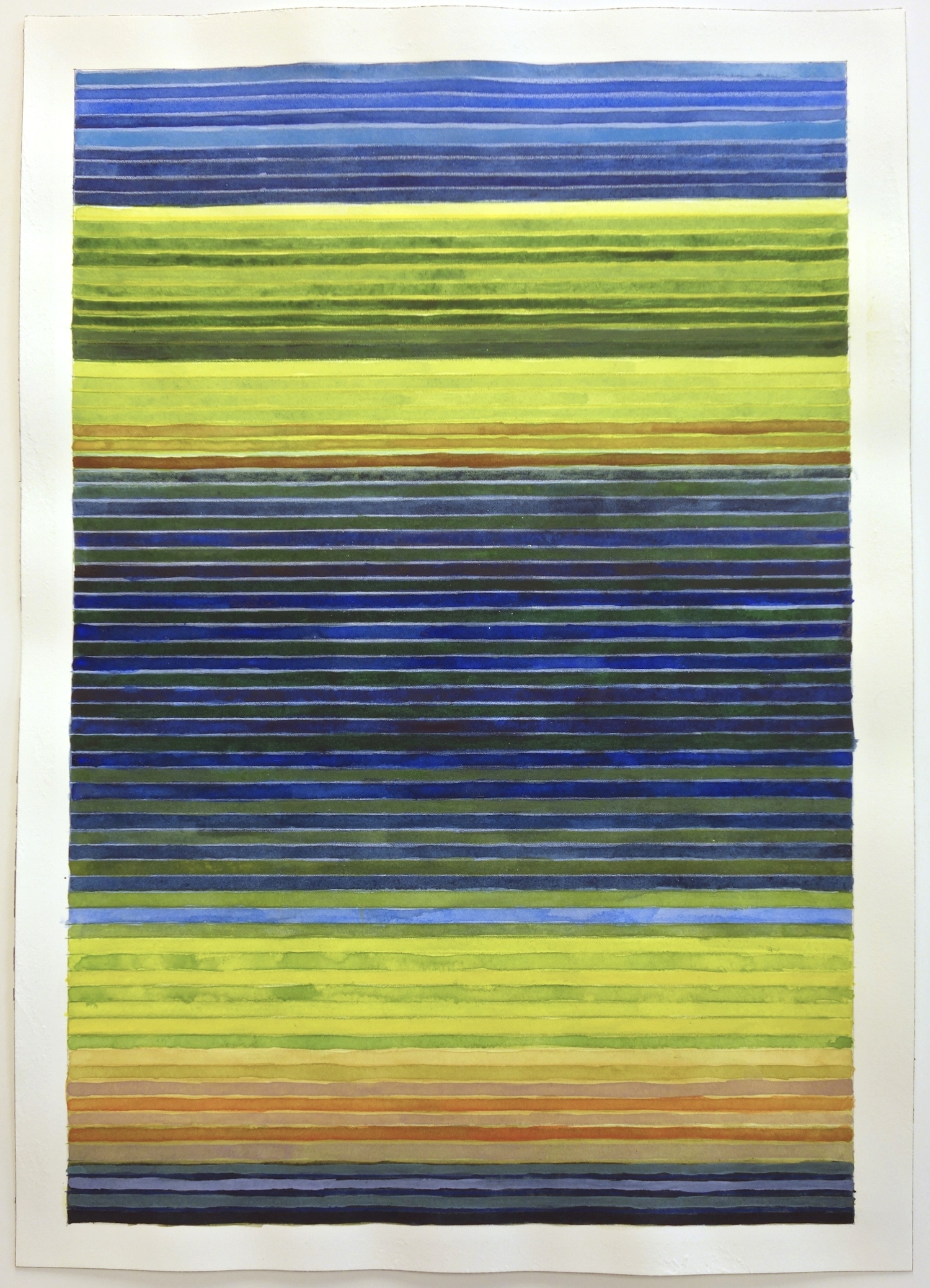"Colorband (Yellowstone Blue), 2014, Watercolor and gouache on paper, 20""x14 1/4"""