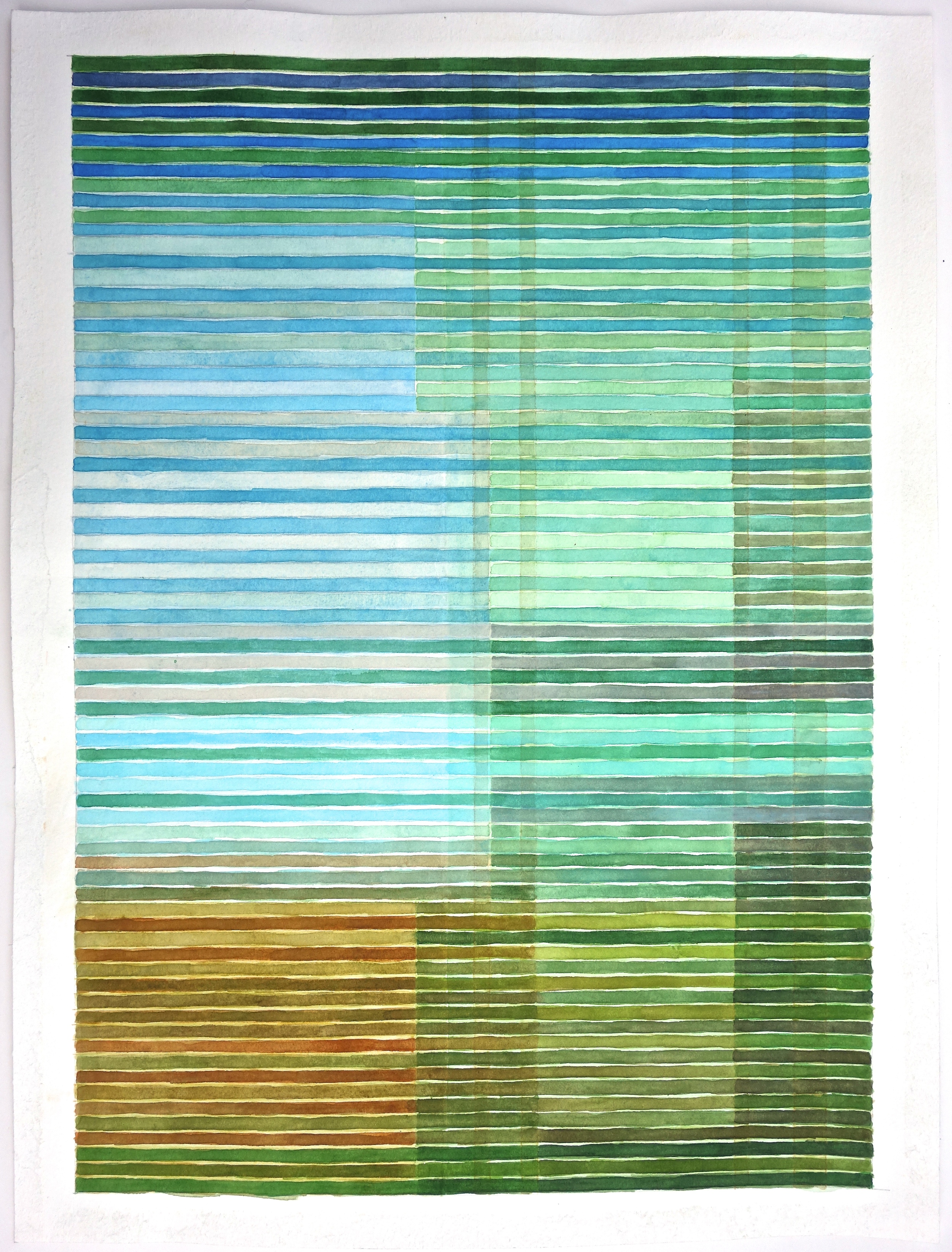 "Colorband (Pearl River), 2014, Watercolor and gouache on paper, 20""x14 1/4"""