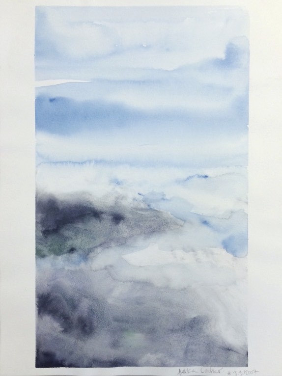 """Sky 3.3.2007, 2007, watercolor on paper, 12.5"""" x 9.5"""""""