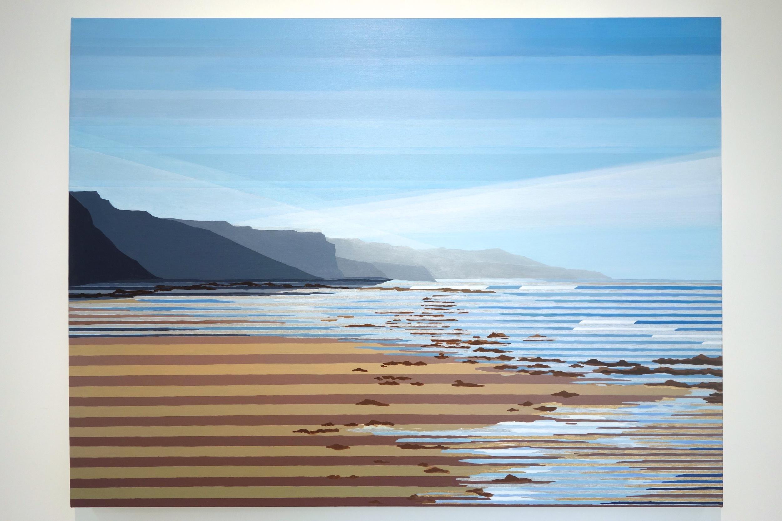 "OUTSIDE installation (Julika Lackner ""Tides"", 2015, Oil, Acrylic, Silver on Canvas, 36""x48"""