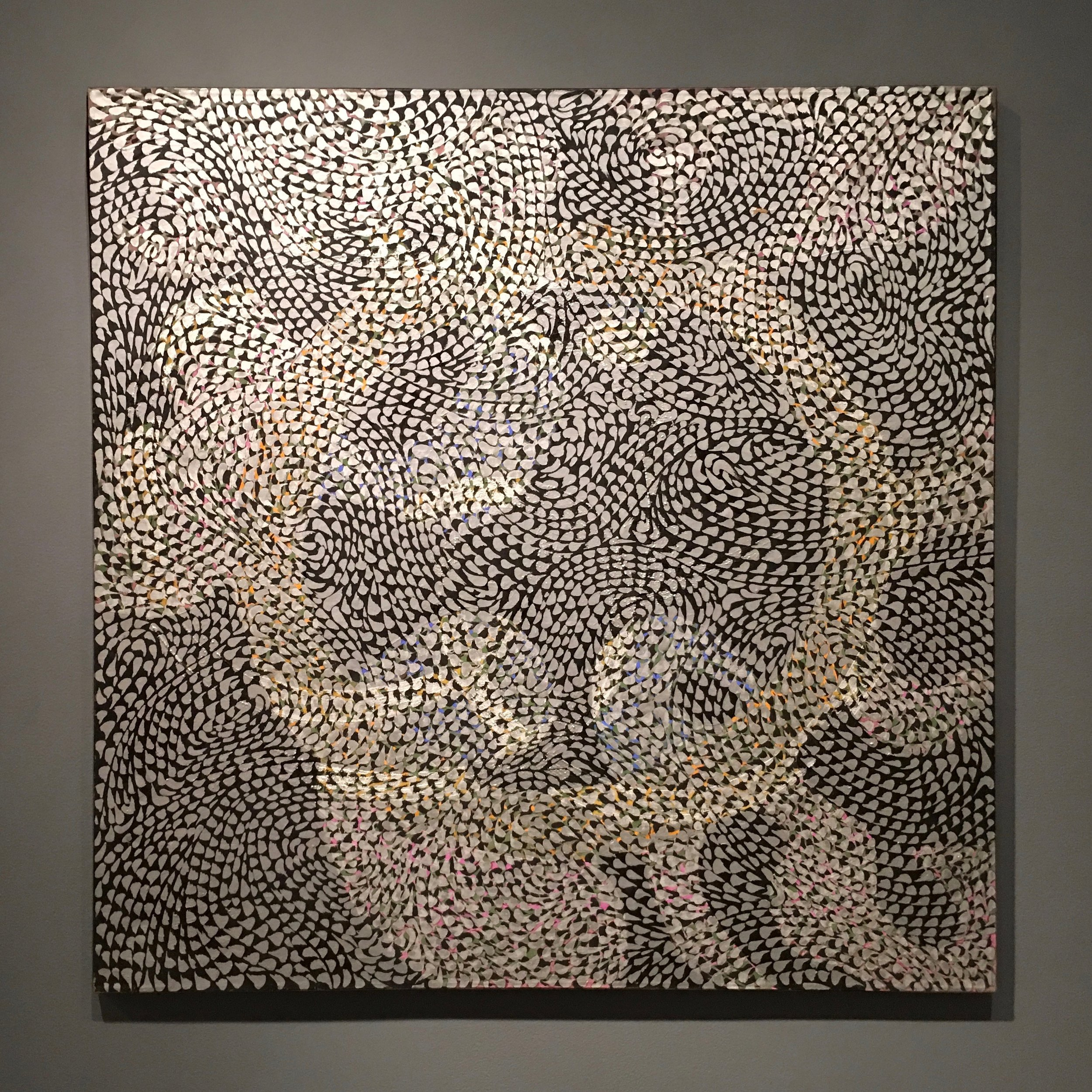 Claire Falkenstein,  Moving Points in Silver , 1970, Acrylic on Canvas