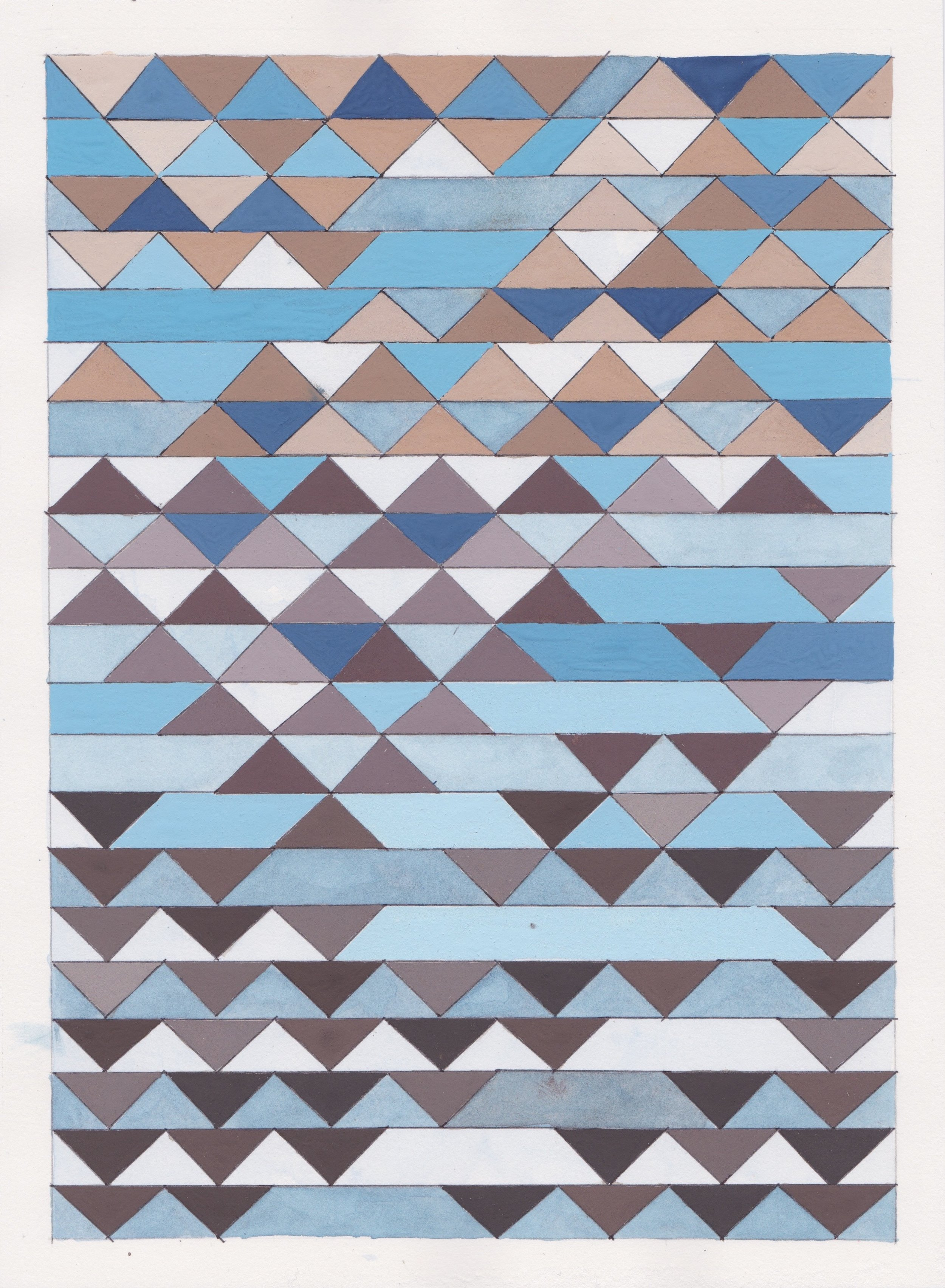"""Ephemeral Triangles no.6, 2016. Gouache, Watercolor + Ink on Paper. 11.5""""x8.5"""""""