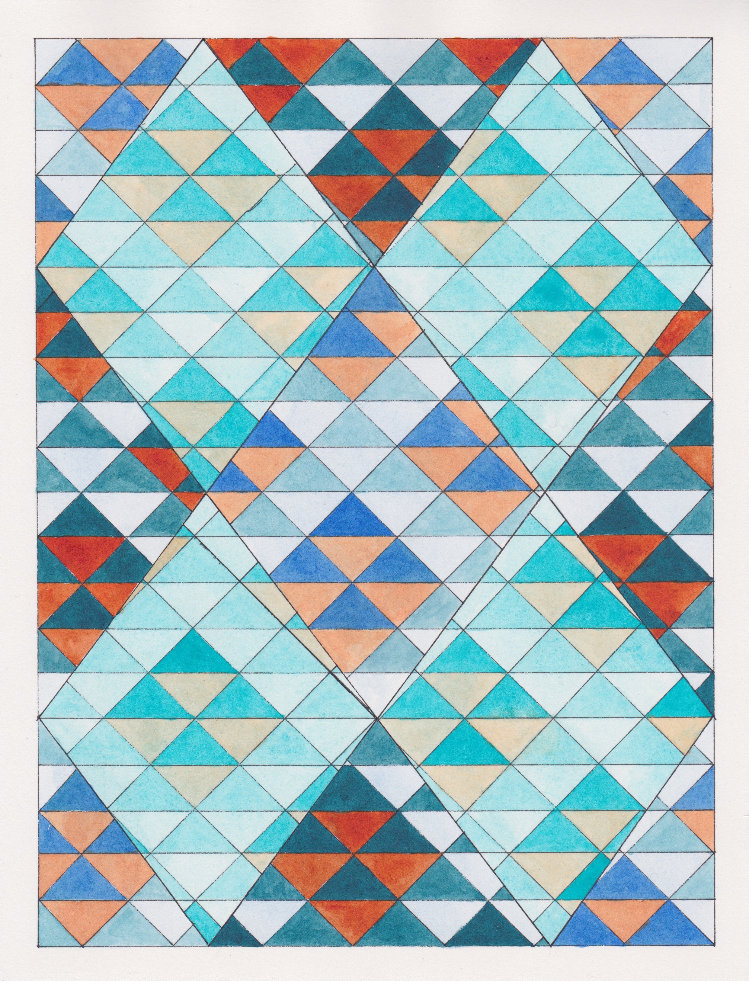 """Ephemeral Triangles no.10, 2017. Gouache, Watercolor + Ink on Paper. 11.5""""x8.5"""""""