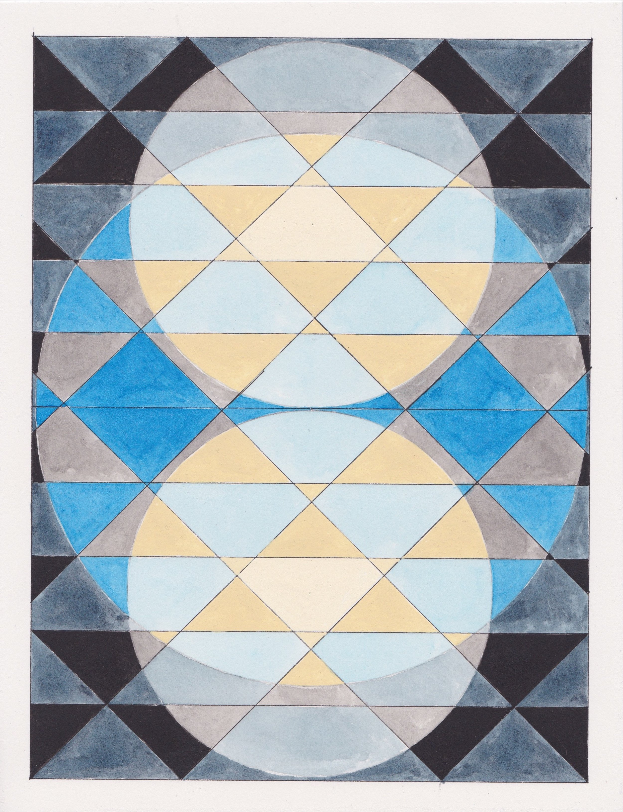 """Ephemeral Triangles no.14, 2017. Gouache, Watercolor + Ink on Paper. 11.5""""x8.5"""""""