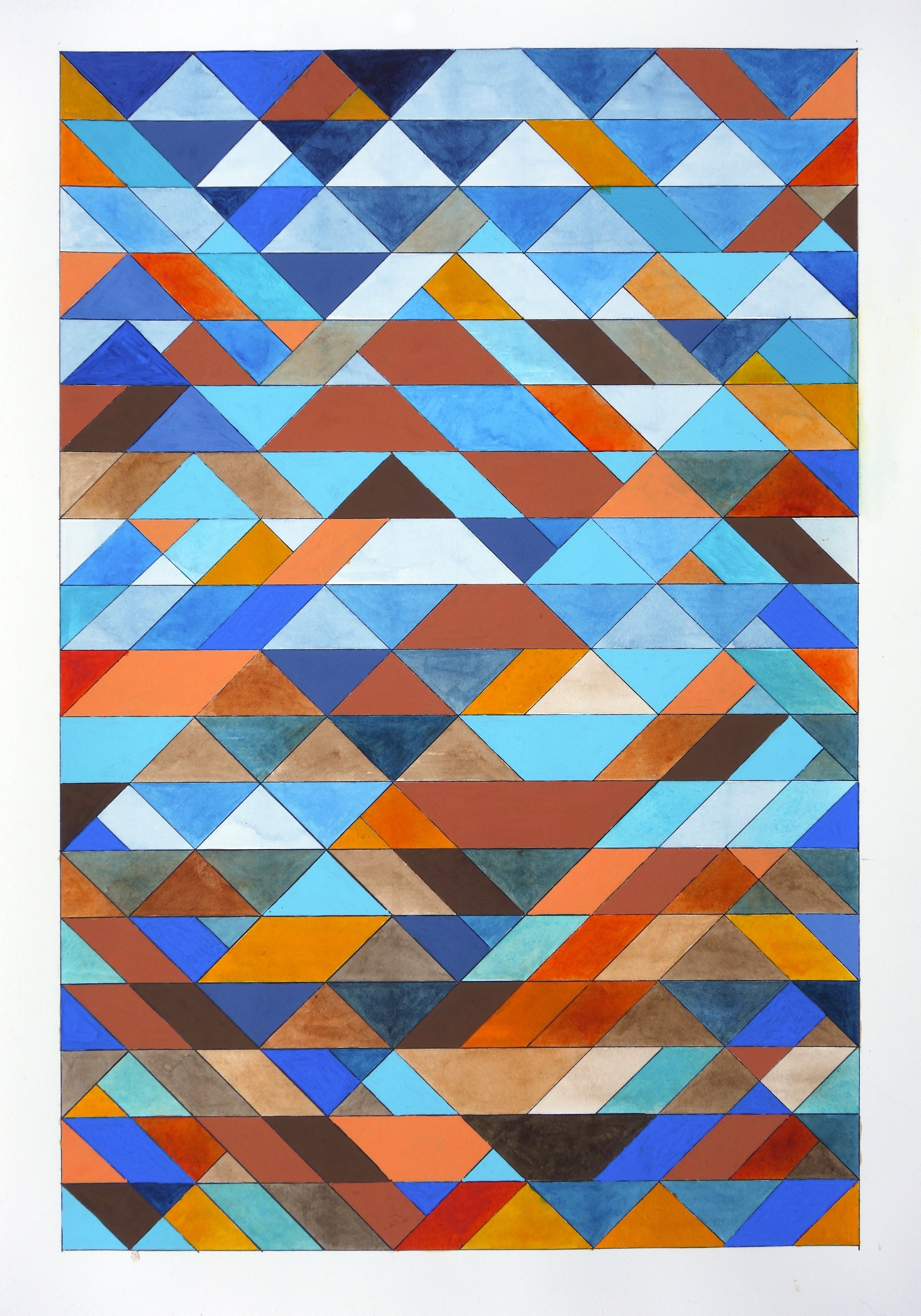 """Ephemeral Triangles no.18, 2017. Gouache, Watercolor + Ink on Paper. 20""""x16"""""""