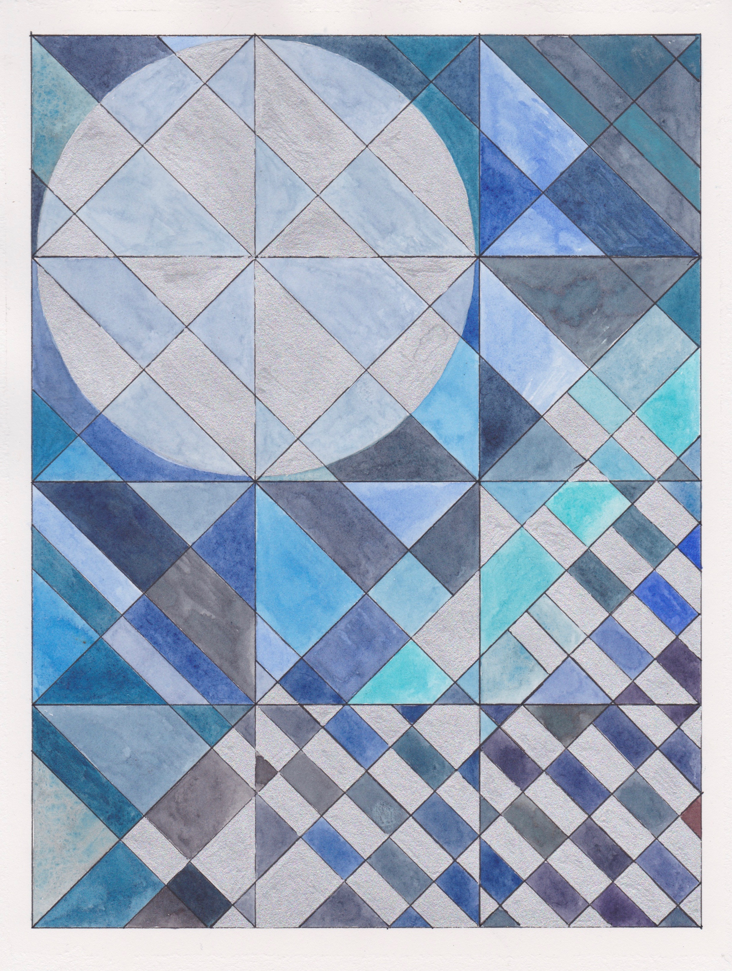 "Blue Moon, 2017. Gouache, Watercolor + Ink on Paper. 11.5""x8.5"""