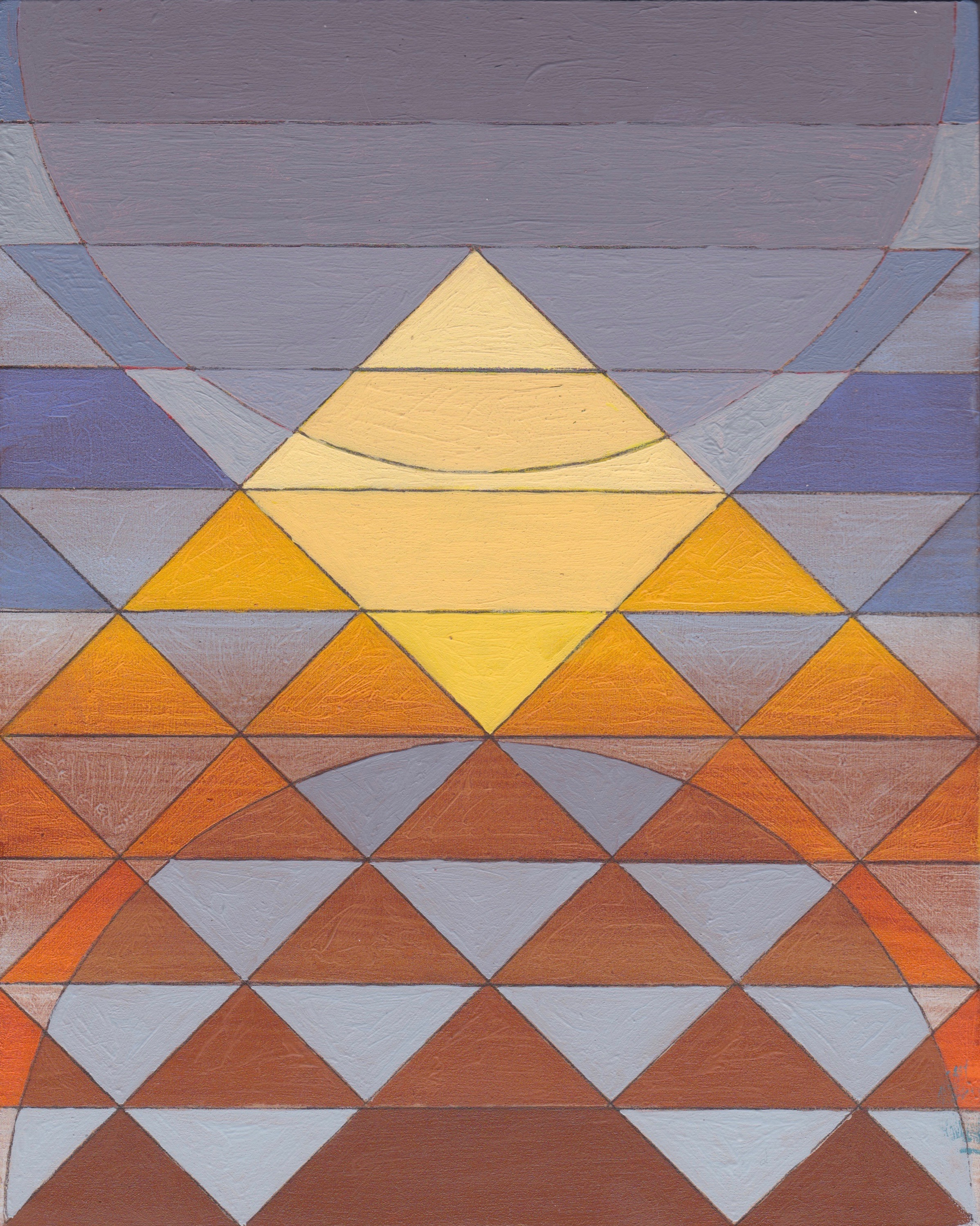"Pyramid Sun Mauve, 2017. Oil and Enamel on Panel. 10""x8"" (25x20cm)"