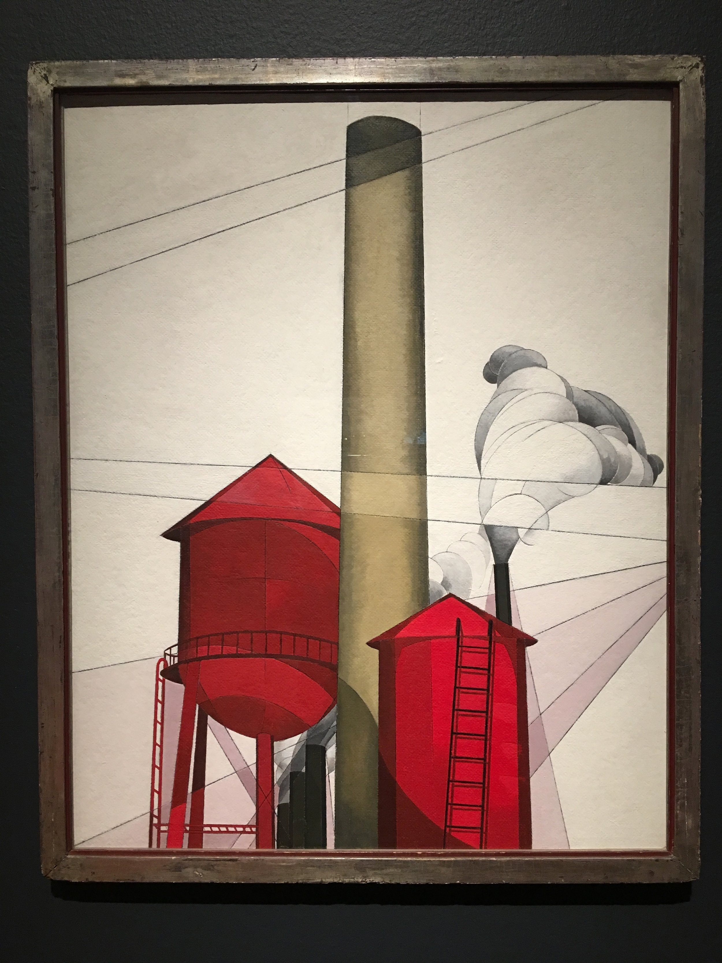 "Charles Demuth, ""Buildings"", 1930-31, Tempera and plumbago on composition boards"