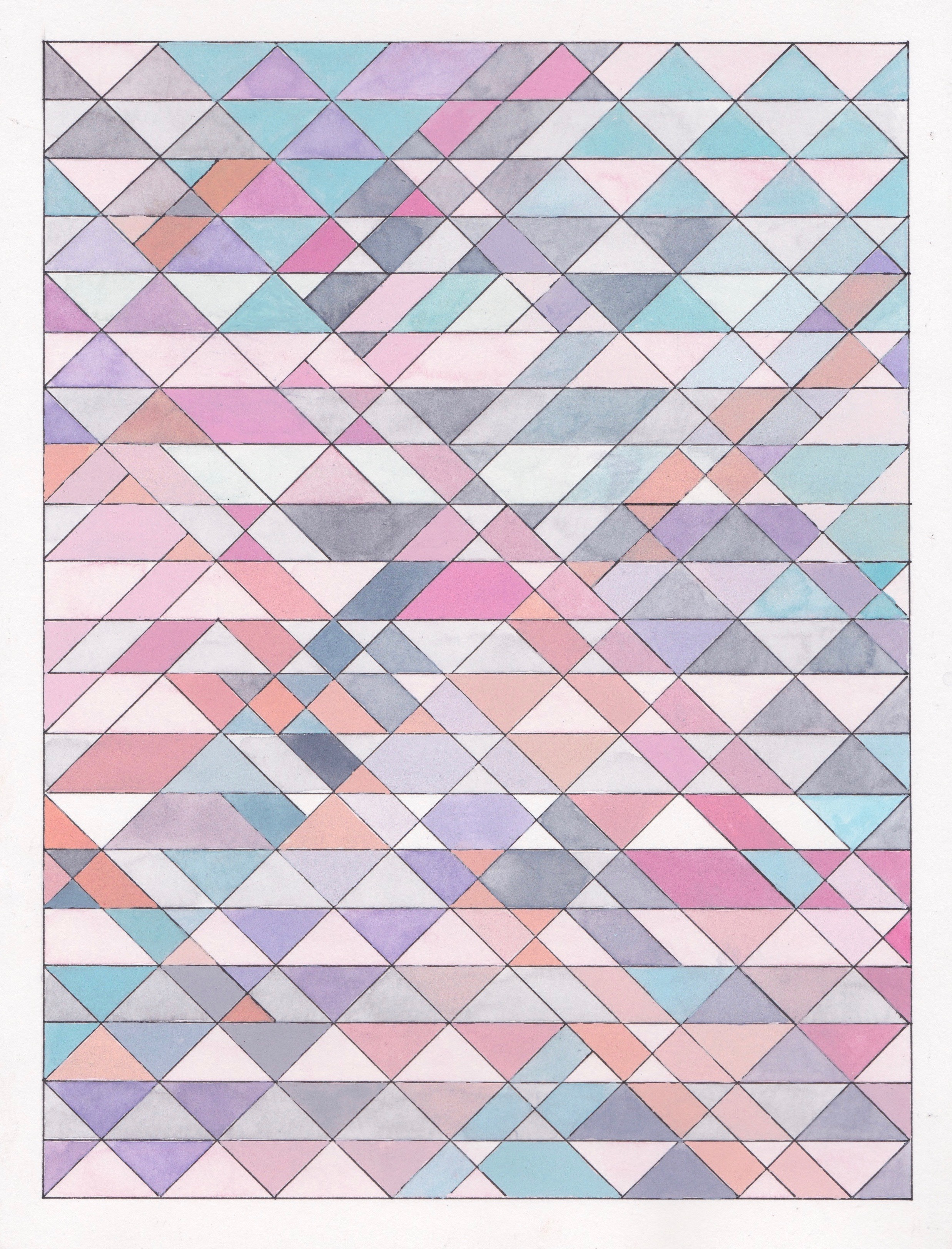 """Ephemeral Triangles no.26, 2018. Gouache, Watercolor + Ink on Paper. 11.5""""x8.5"""""""