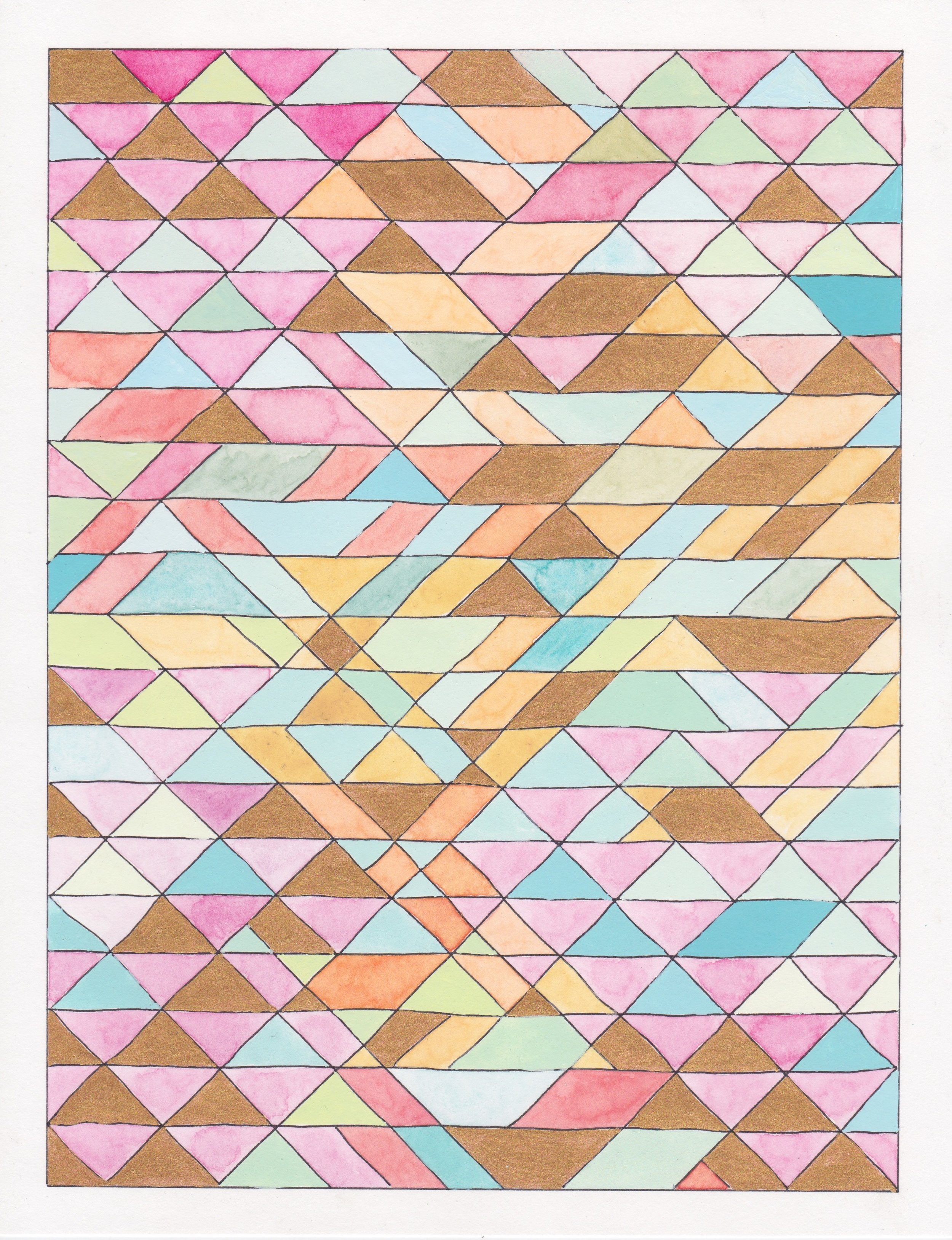 """Ephemeral Triangles no.27, 2018. Gouache, Watercolor + Ink on Paper. 11.5""""x8.5"""""""