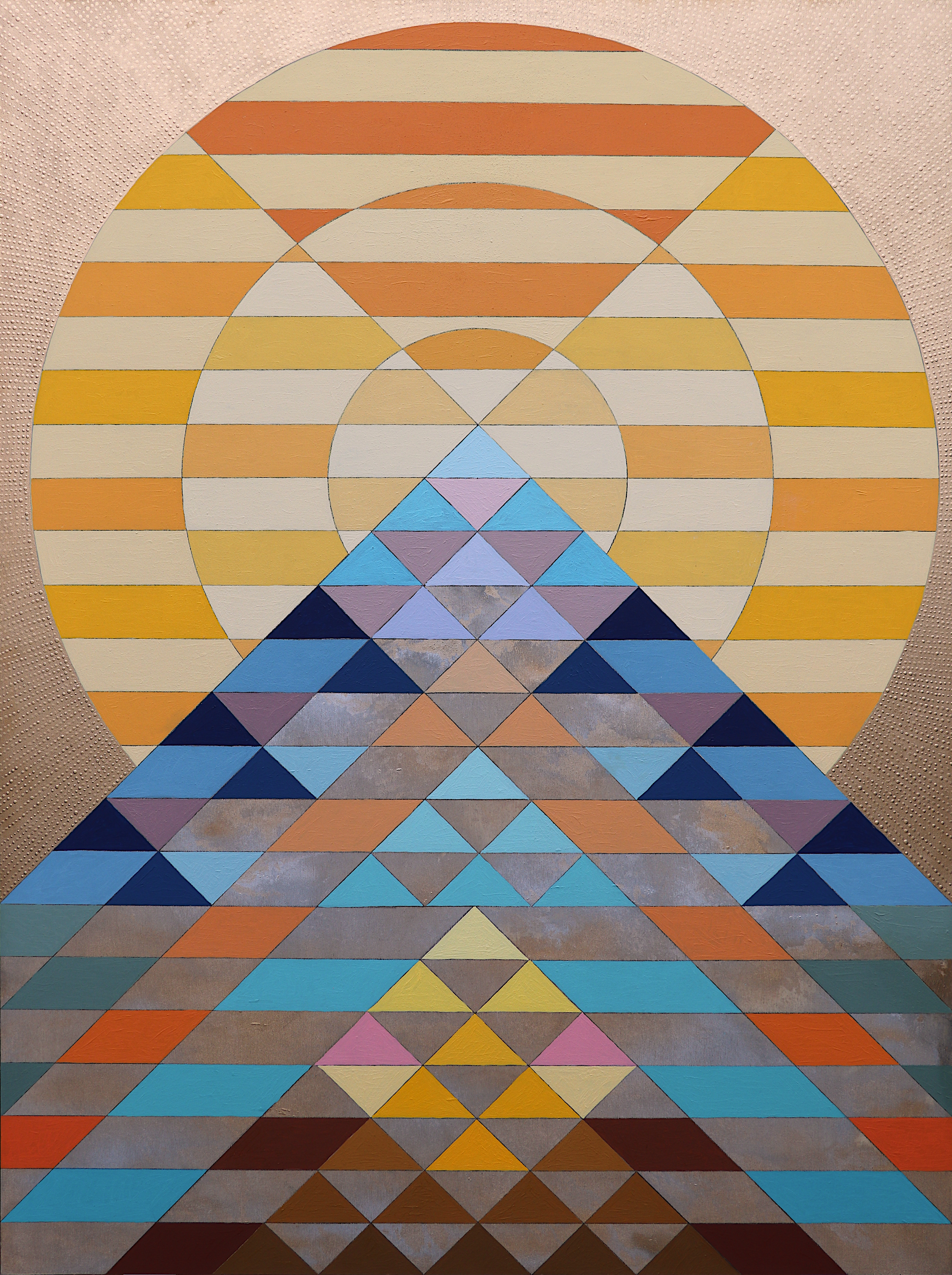 "Mountain of the Sun 8, 2019. Oil and Enamel on Panel. 48""x36"""