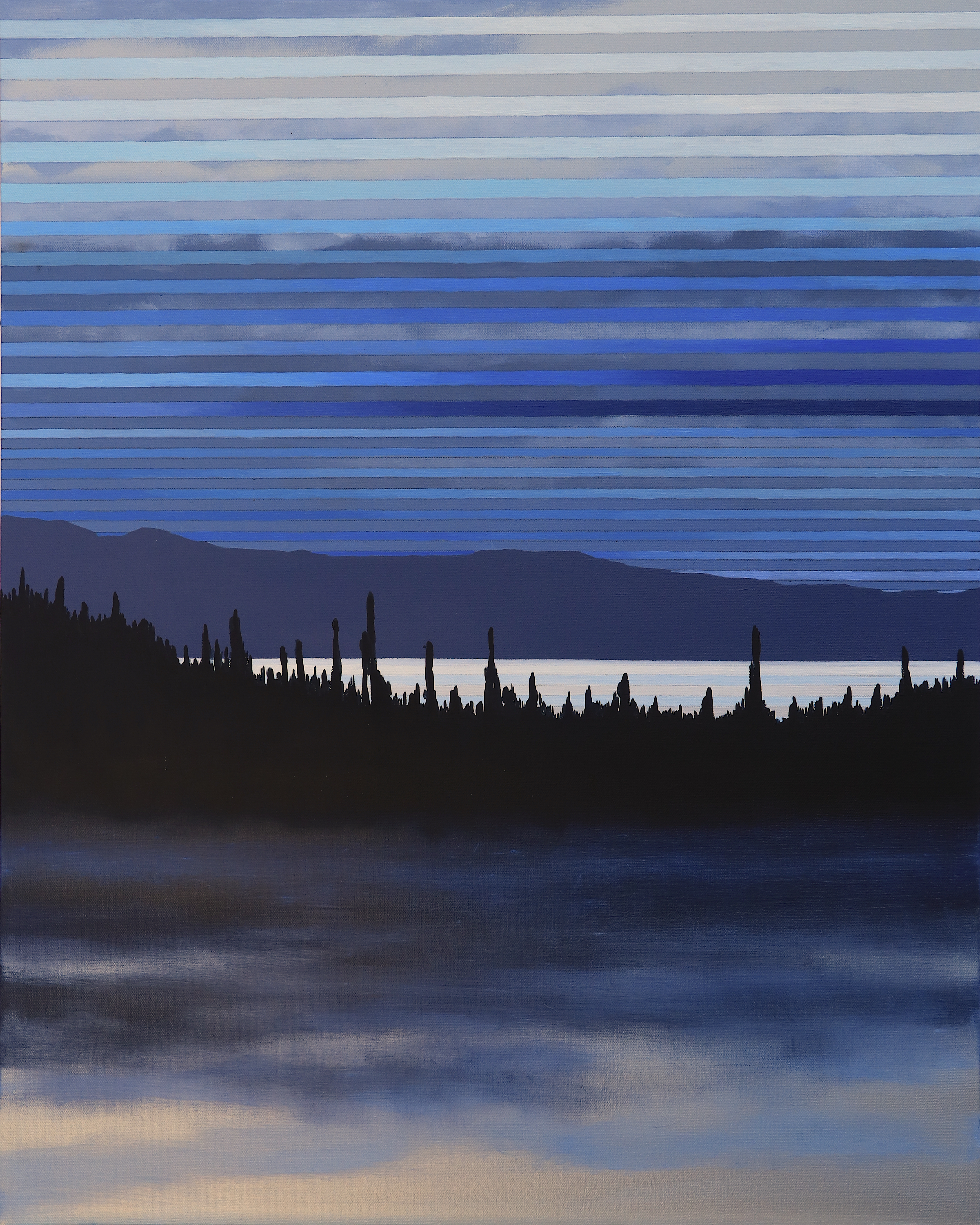 """Early Morning Lake. 2019. Acrylic and Oil on Canvas. 30""""x24"""""""