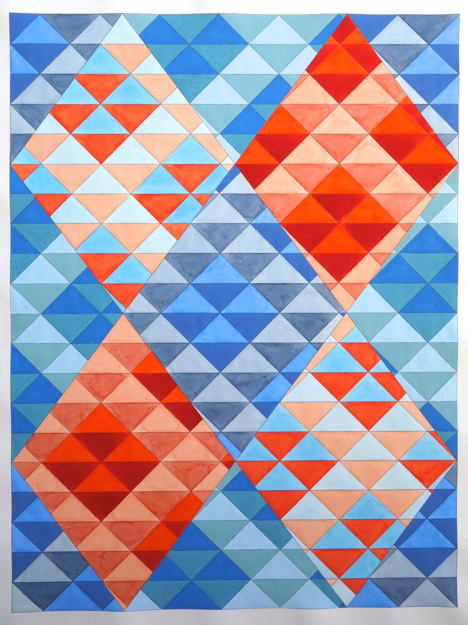 """Ephemeral Triangles No. 23 in Blue and Red. 2018. Watercolor and Gouache on Paper. 48""""x36"""" (Commissioned by Kinzelman Fine Art)"""