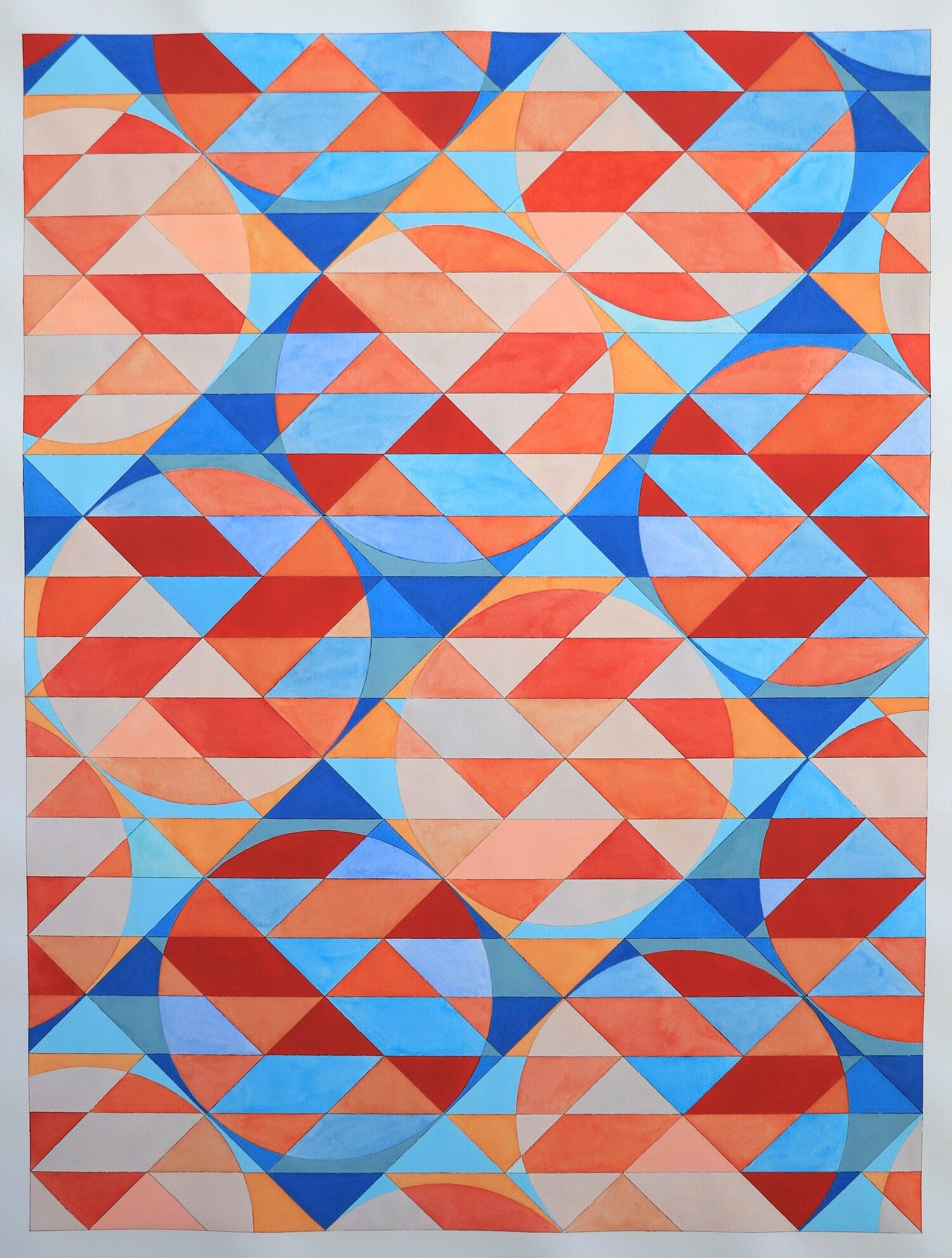"""Ephemeral Triangles No. 15 in Blue and Red. 2018. Watercolor and Gouache on Paper. 48""""x36"""" (Commissioned by Kinzelman Fine Art)"""