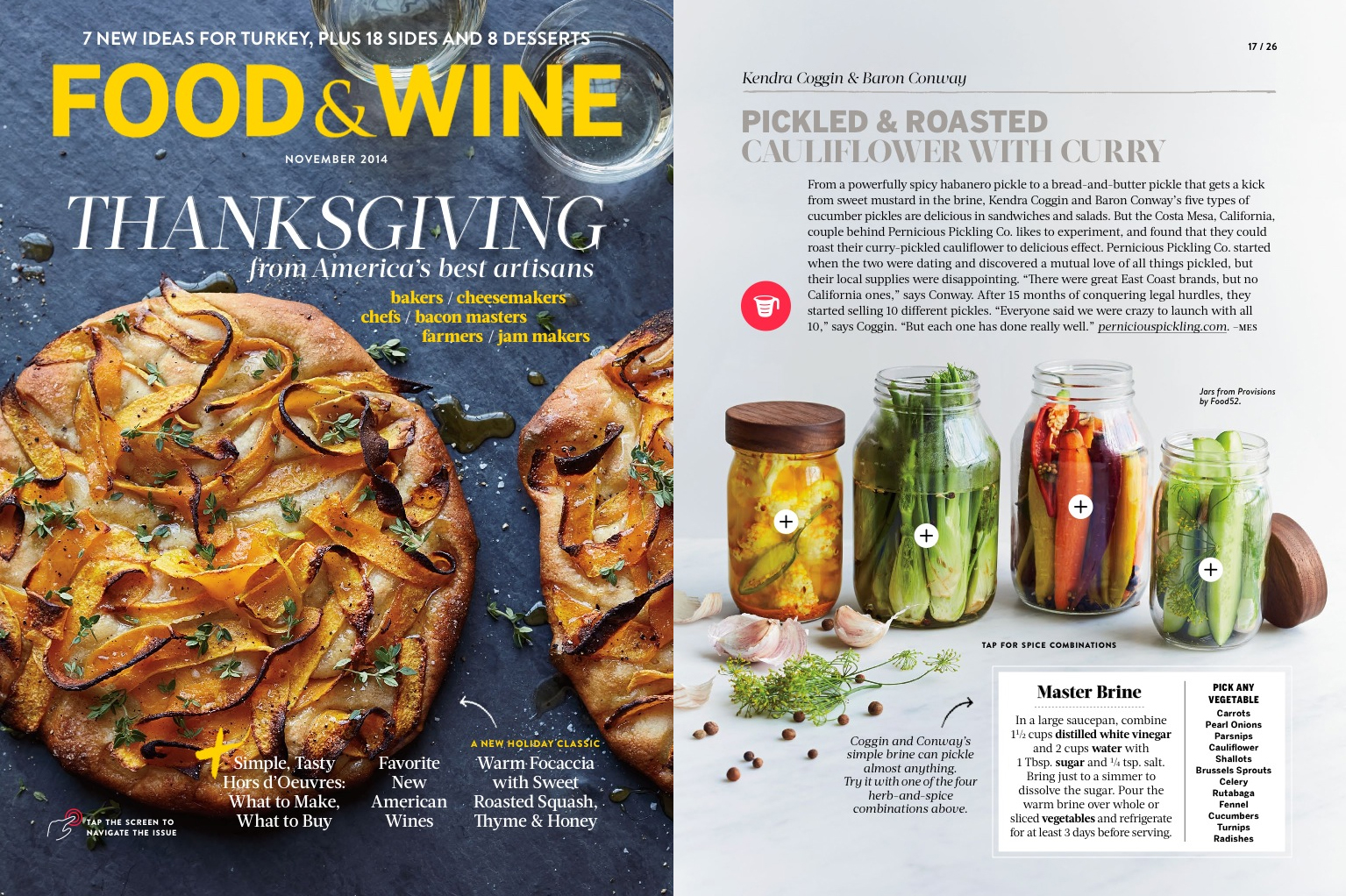 """Food & Wine ,   Thanksgiving Issue  , """"America's Best Food Artisans Share Their Ultimate Recipes"""" (Nov 2014)"""
