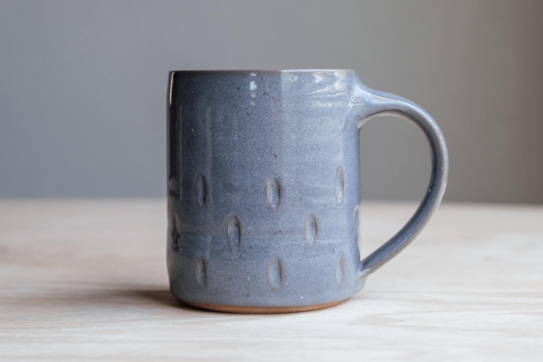 "Teardrop Mug - Stone   $16.50 Wholesale   $28 MSRP  Approx. 3.75"" tall x 3.25"" wide, 12 oz"
