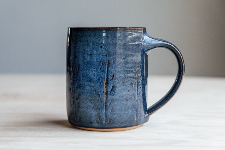 "Meadow Mug - Seaside   $16.50 Wholesale   $28 MSRP  Approx. 3.75"" tall x 3.25"" wide, 12 oz"
