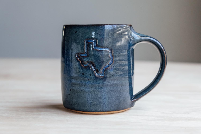 "Texas Mug - Seaside   $16.50 Wholesale   $28 MSRP  Approx. 3.75"" tall x 3.25"" wide, 12 oz"