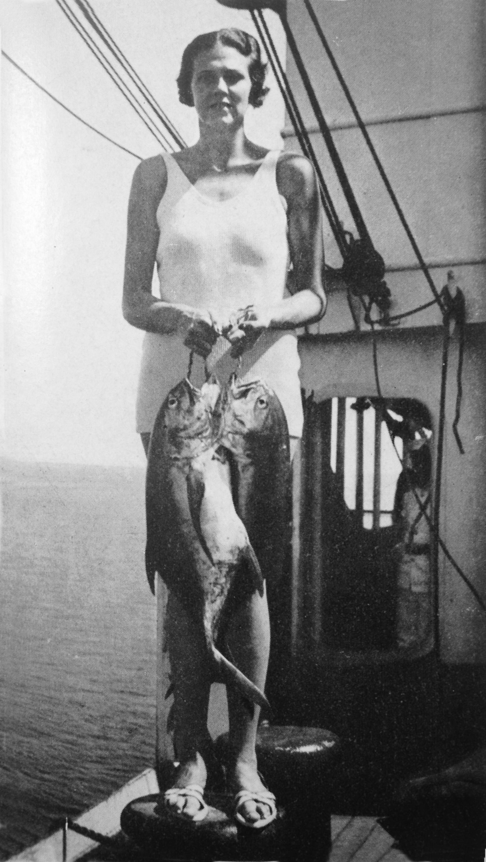 Pauline Baker née Paulsen, off the coast of Mexico, circa 1935