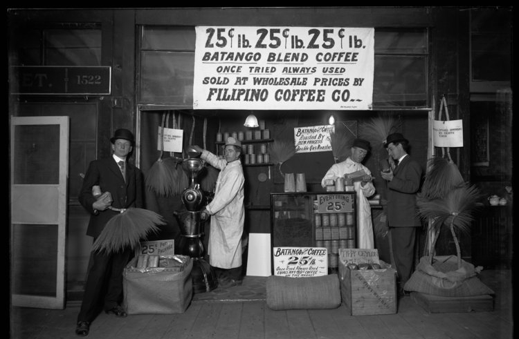Filipino Coffee Co. at Seattle's Pike Place Market in 1909. The Philippines has long been a producer of coffee, but has struggled to make a name in the modern Specialty Coffee Industry. Photo: Museum of History & Industry, PEMCO Webster & Stevens Collection