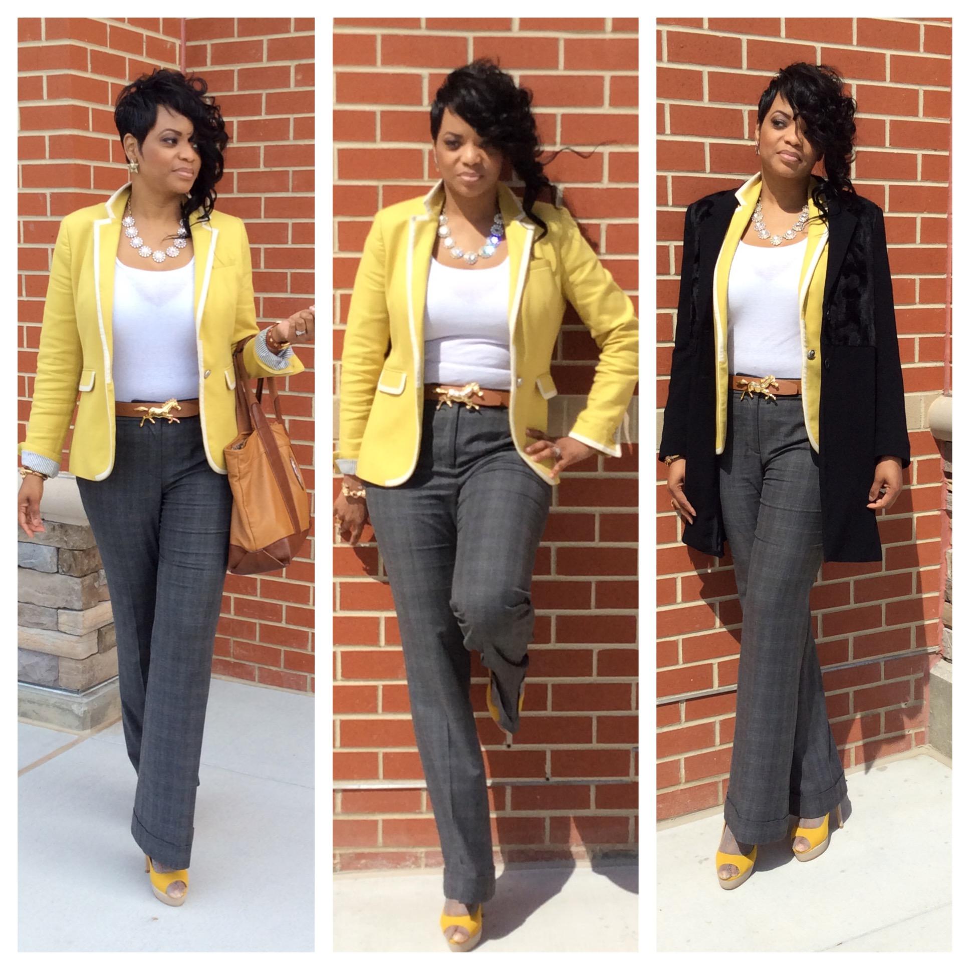 My #WardrobeHustle Blazer:  Banana Republic  Trousers:  LOFT  Shoes:  Aldo  Purse: Tory BurchCoat:  Vince Camuto  Sunnies:  Miu Miu