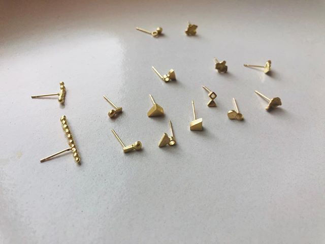 We have been thinking about 2019.. what to keep making and how, and what to change. One thing we will never stop making are tiny sculpture studs. #studobsessed #studs
