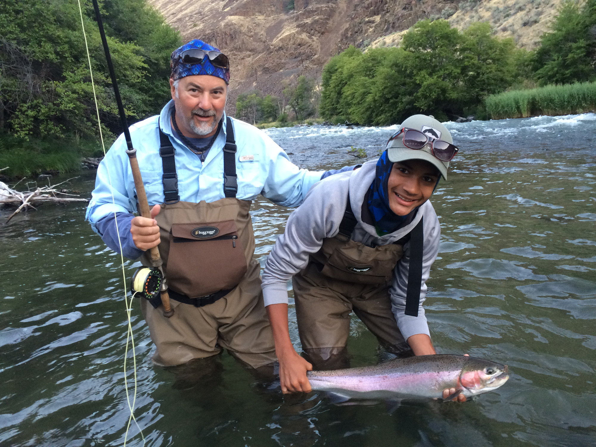 David and grandson Justin stoked on their first steelhead encounter