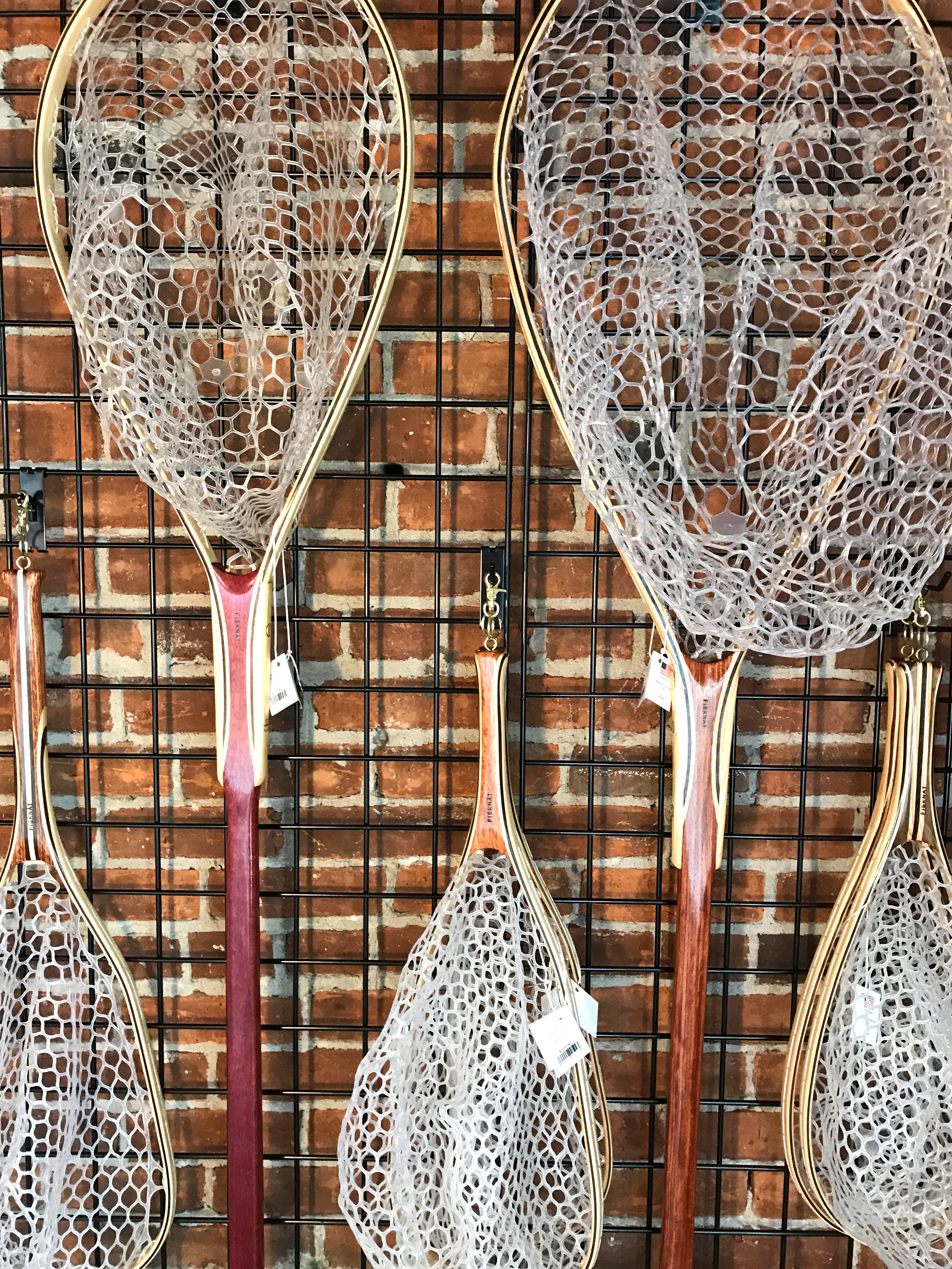 Hand made wooden nets for fly fishing.jpg
