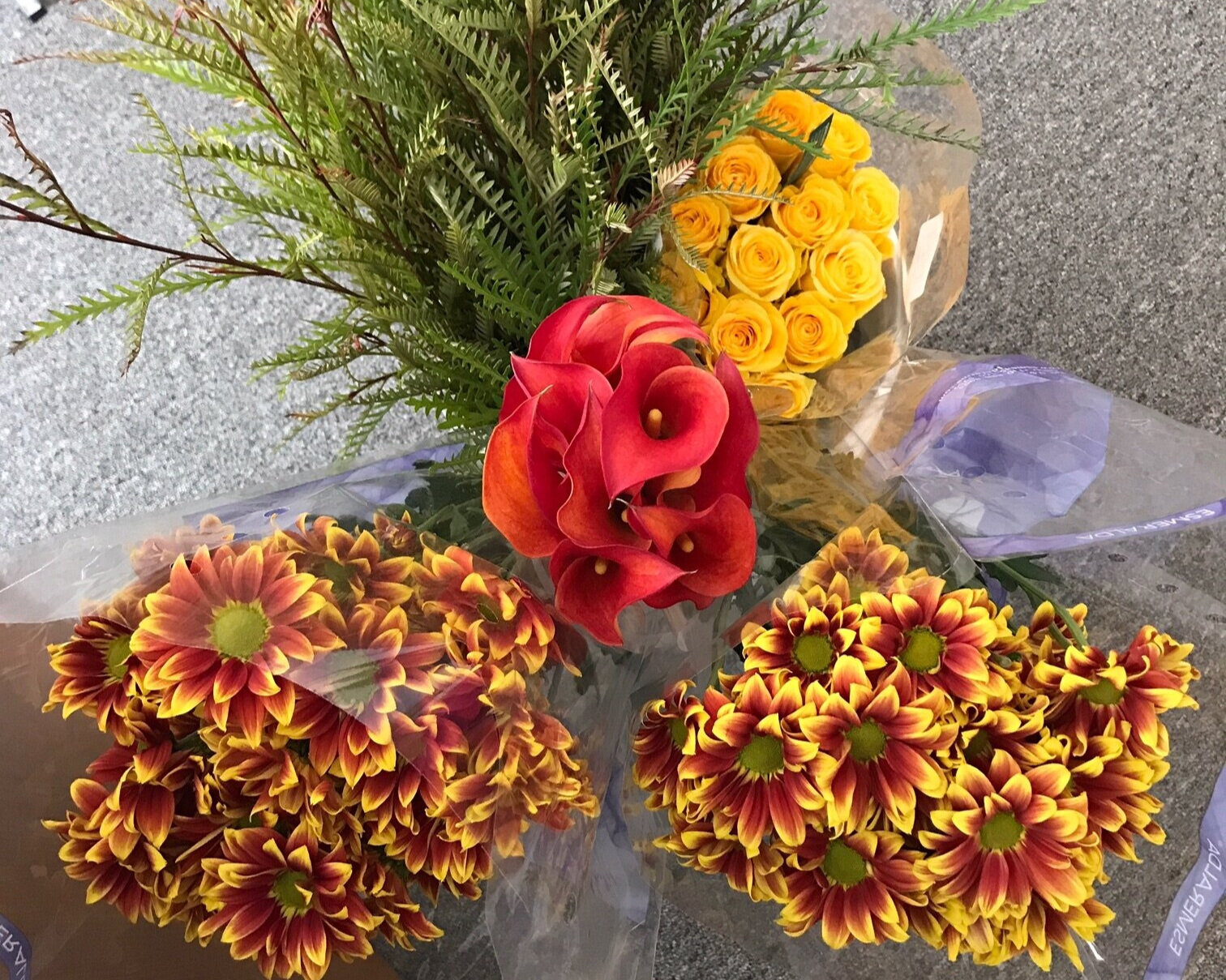 Yellow roses, yellow/rust button daisies, rust mini calla lilies, and grevilla