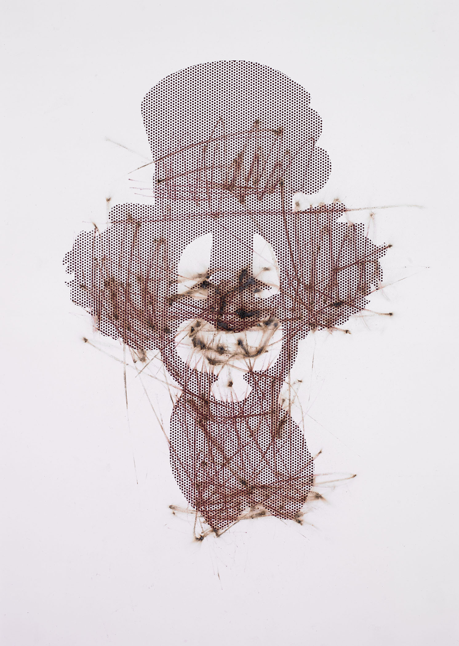 "Clown , 2014, 15""x20"", Match-strikes on bristol paper with screen-print ink and powdered glass"