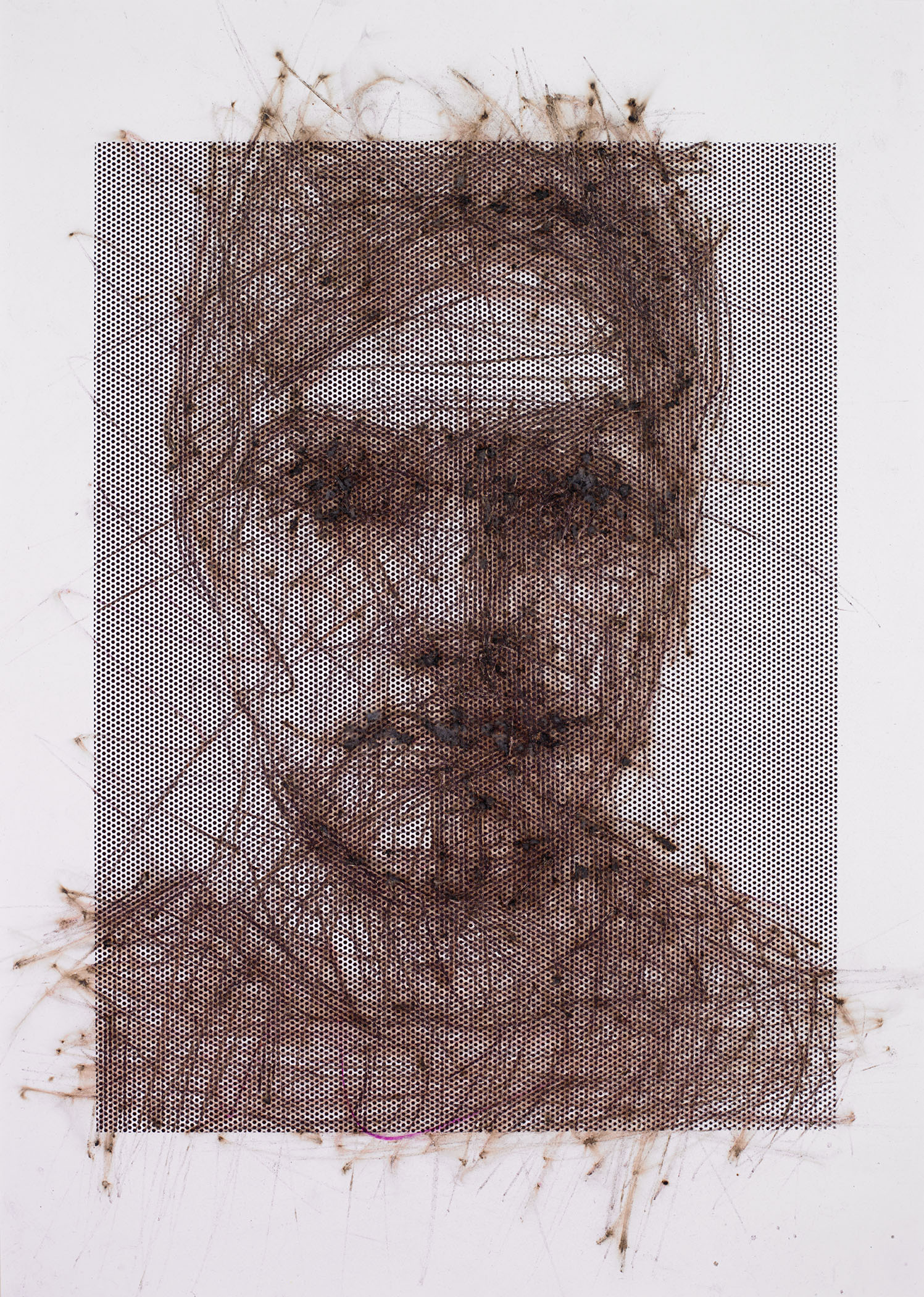 "Self-portrait , 2014, 15""x20"", Match-strikes on bristol paper with screen-print ink and powdered glass"