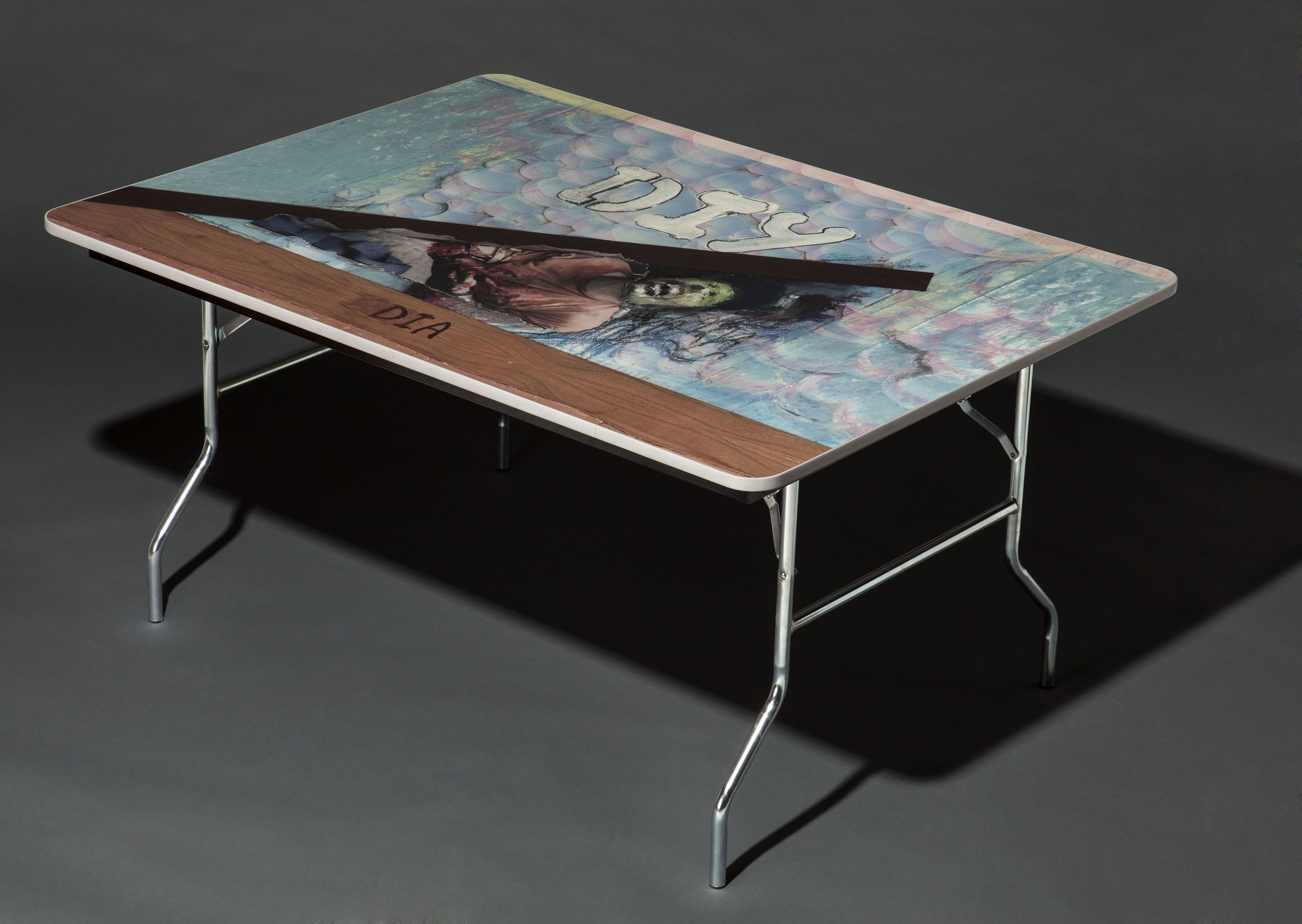DIY DIA , 2012, 4'x6'x3', Custom printed formica, low-density-fiberboard, rubber edge banding, extruded aluminum (painted), prefabricated folding legs