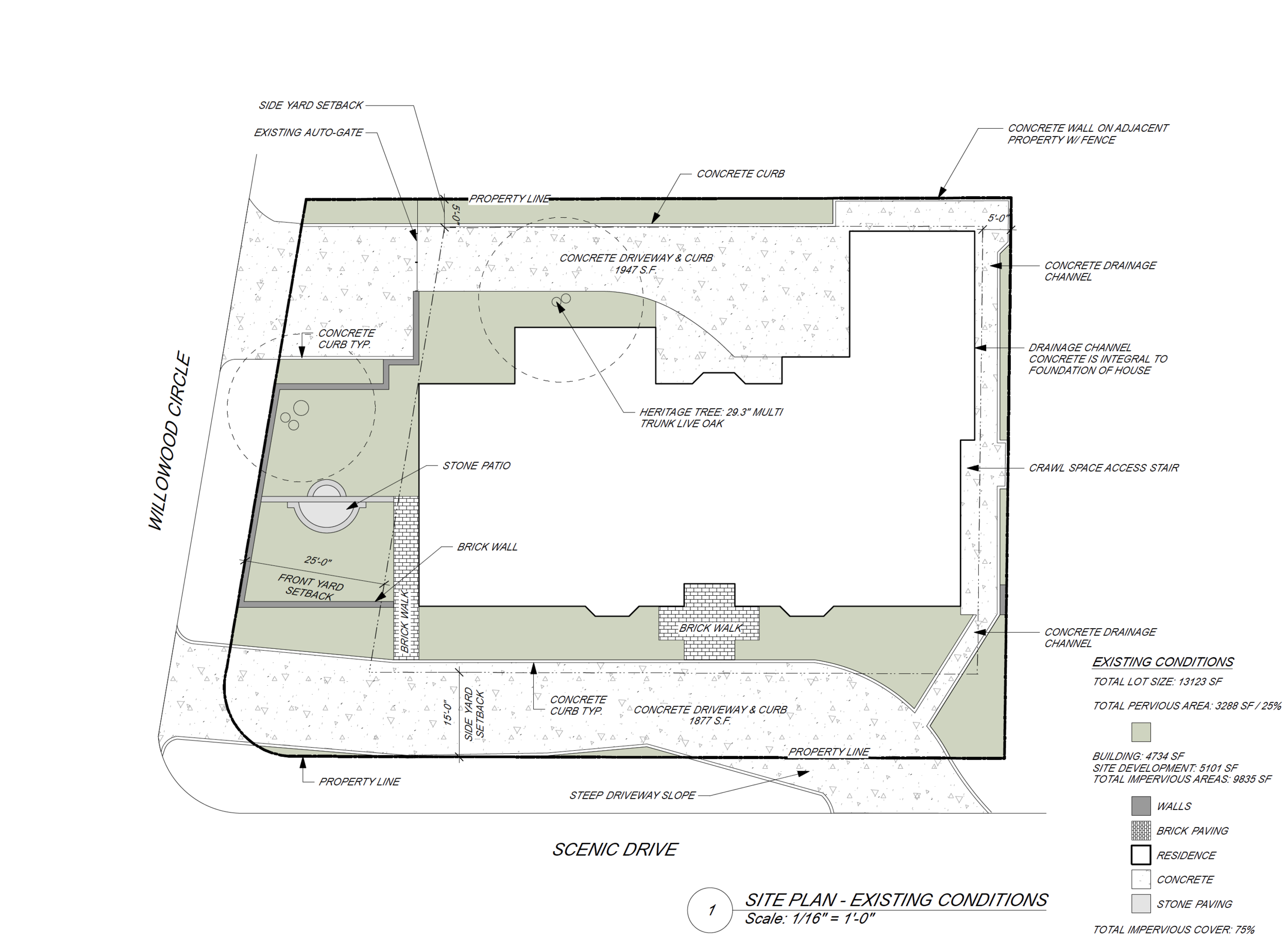 A site plan showing the existing site conditions.