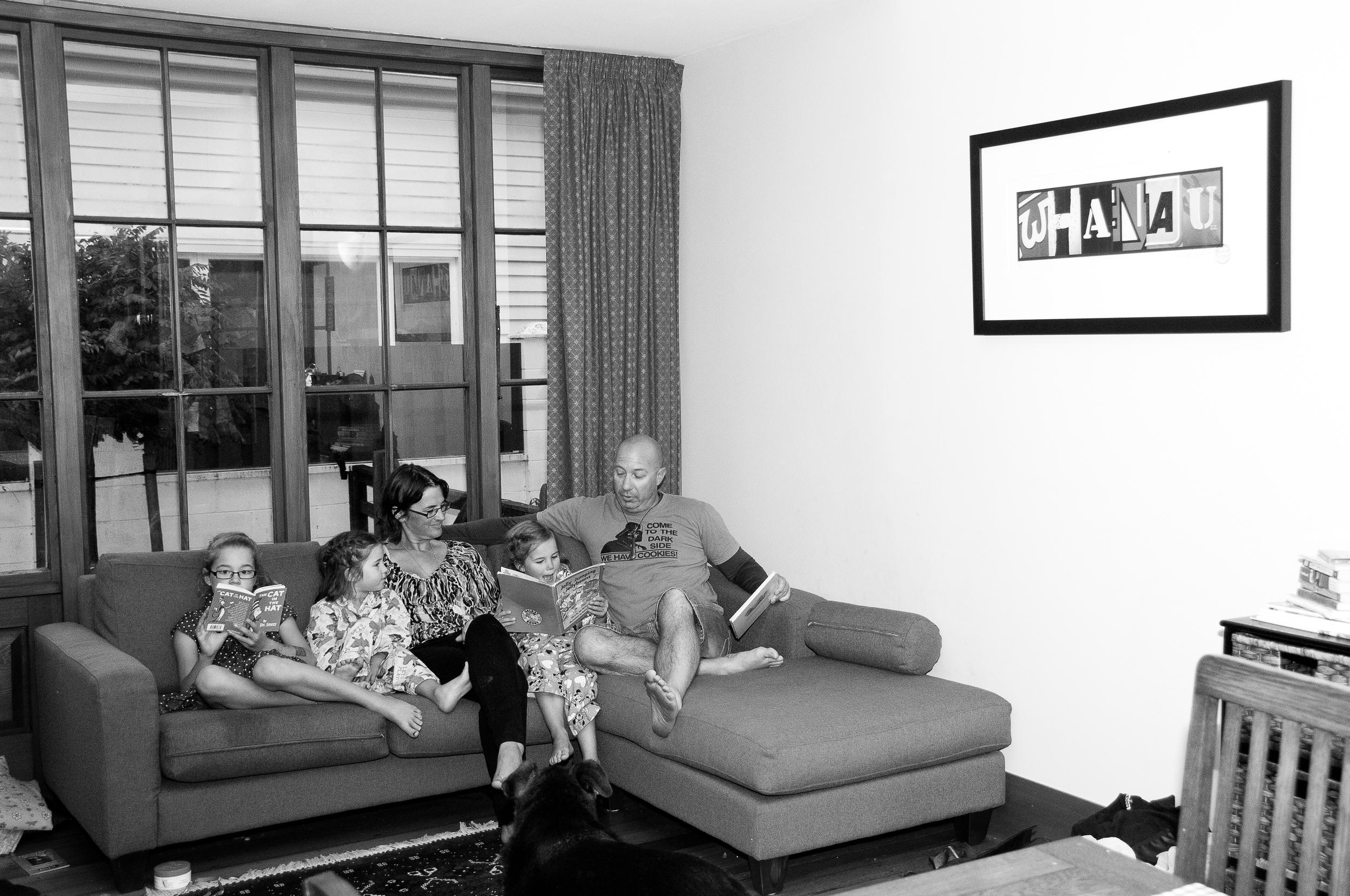 Burkett family before bed.