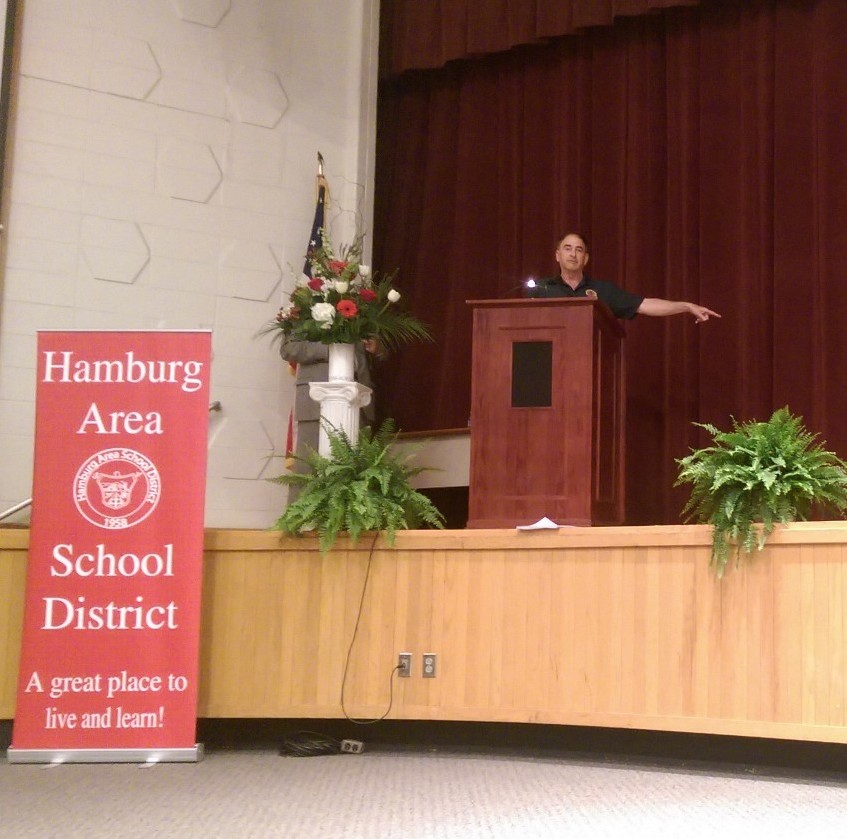 Andrew Muller Jr. imparting wisdom upon the honor students of Hamburg Area High School.