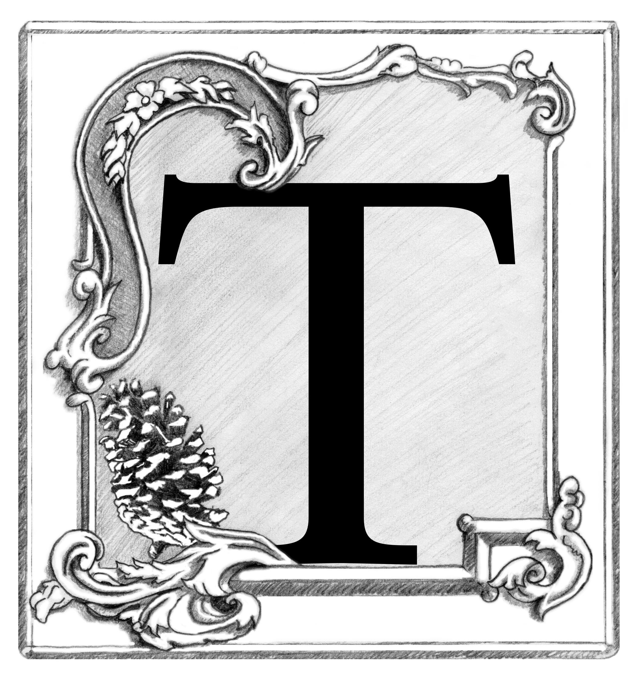 Custom drop cap letter in the publication.