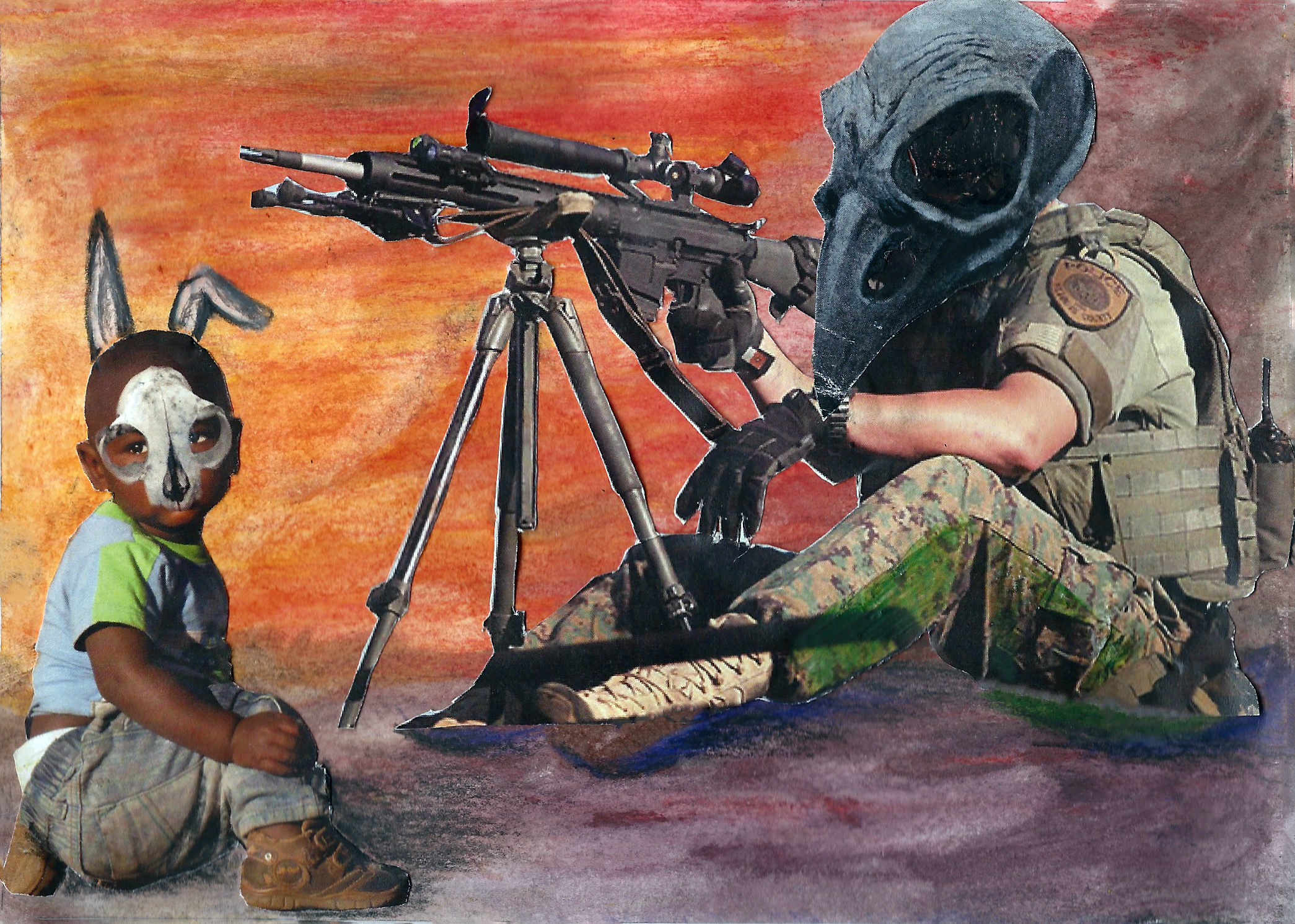 Ferguson 2 of 4  // 7x5in // Media: watercolor, graphite, and newspaper print