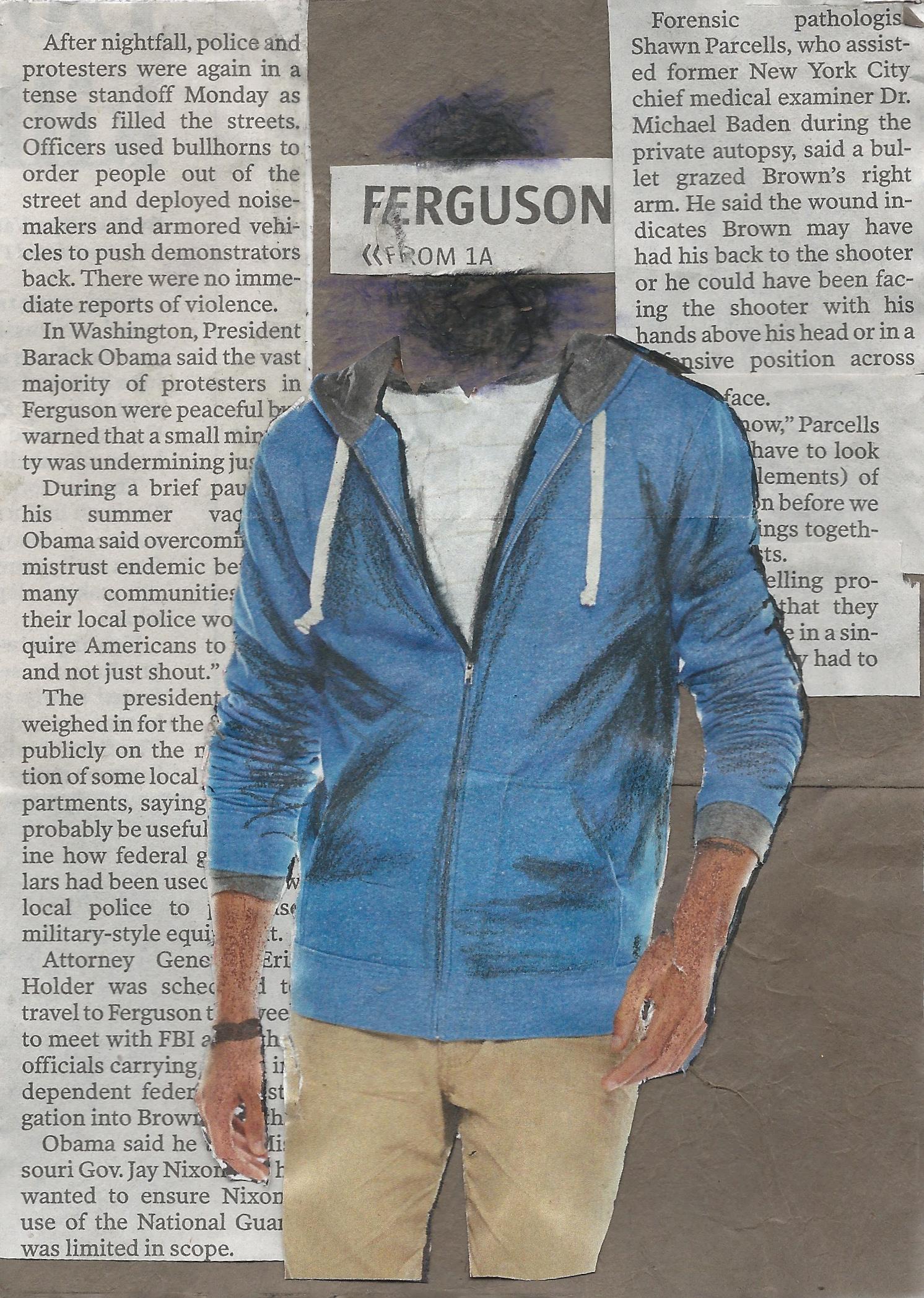 Ferguson 3 of 4  // 5x7in // Media: kraft paper, newsprint, & graphite