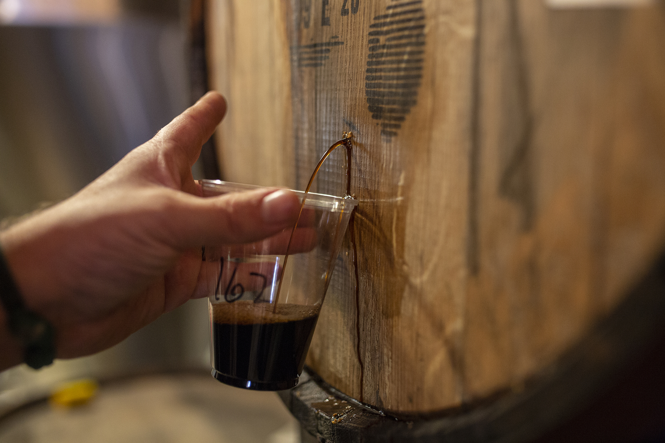 Samples are taken directly from barrels