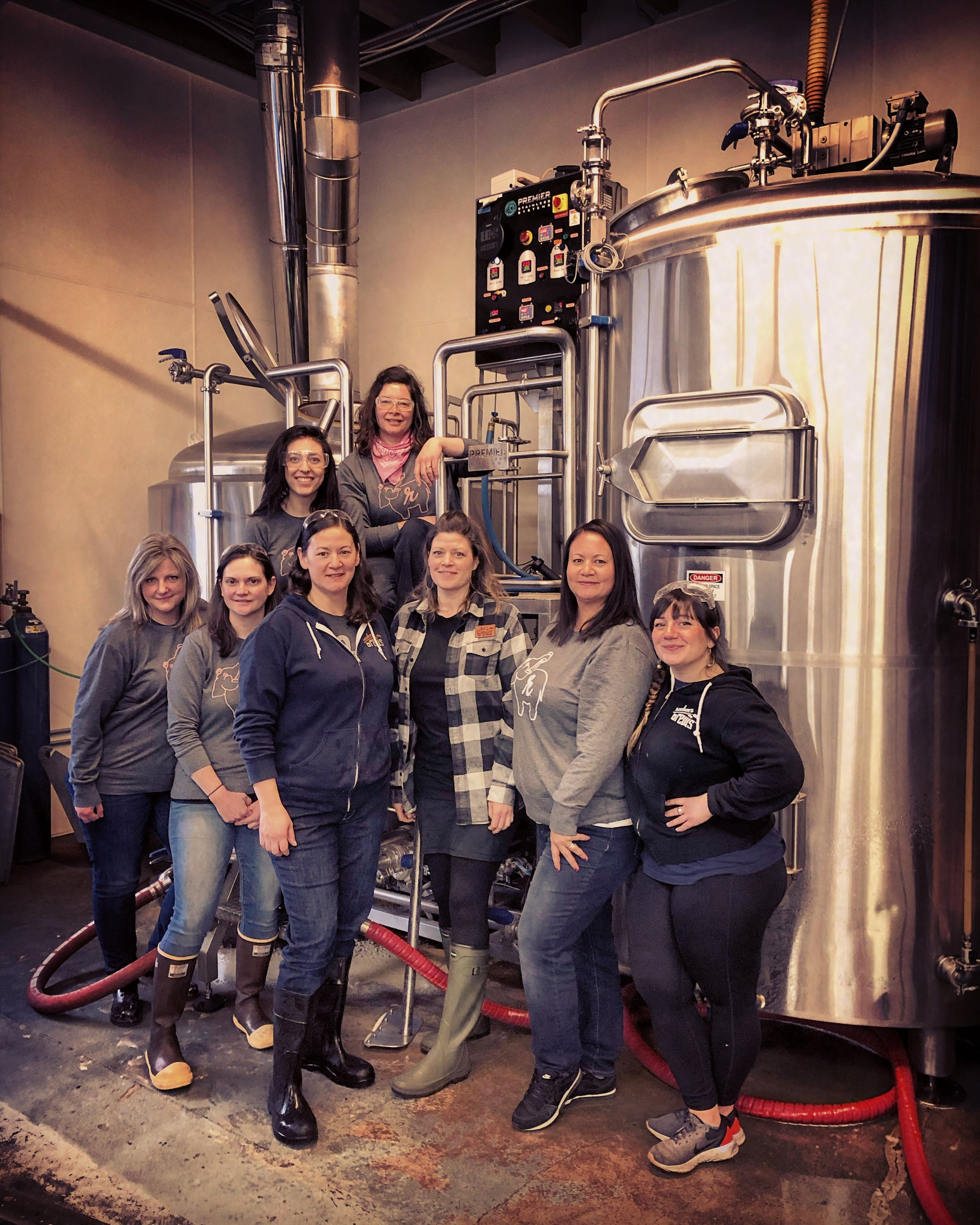Our Pink Boots Society brew day in March 2019, in front of our 15bbl brewhouse at The Taproom