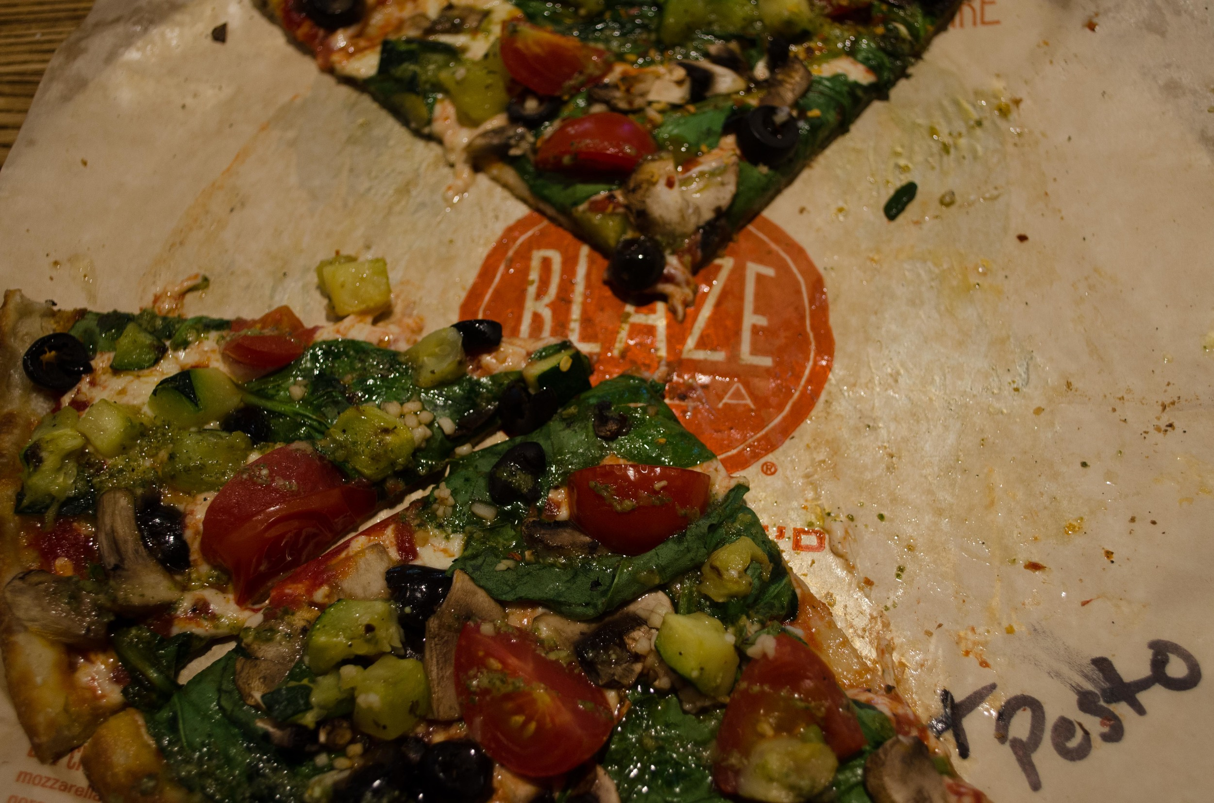 We stopped in Chicago to switch trains, and had time to eat pizza (vegan) at the Blaze.  Om nom nom pesto.